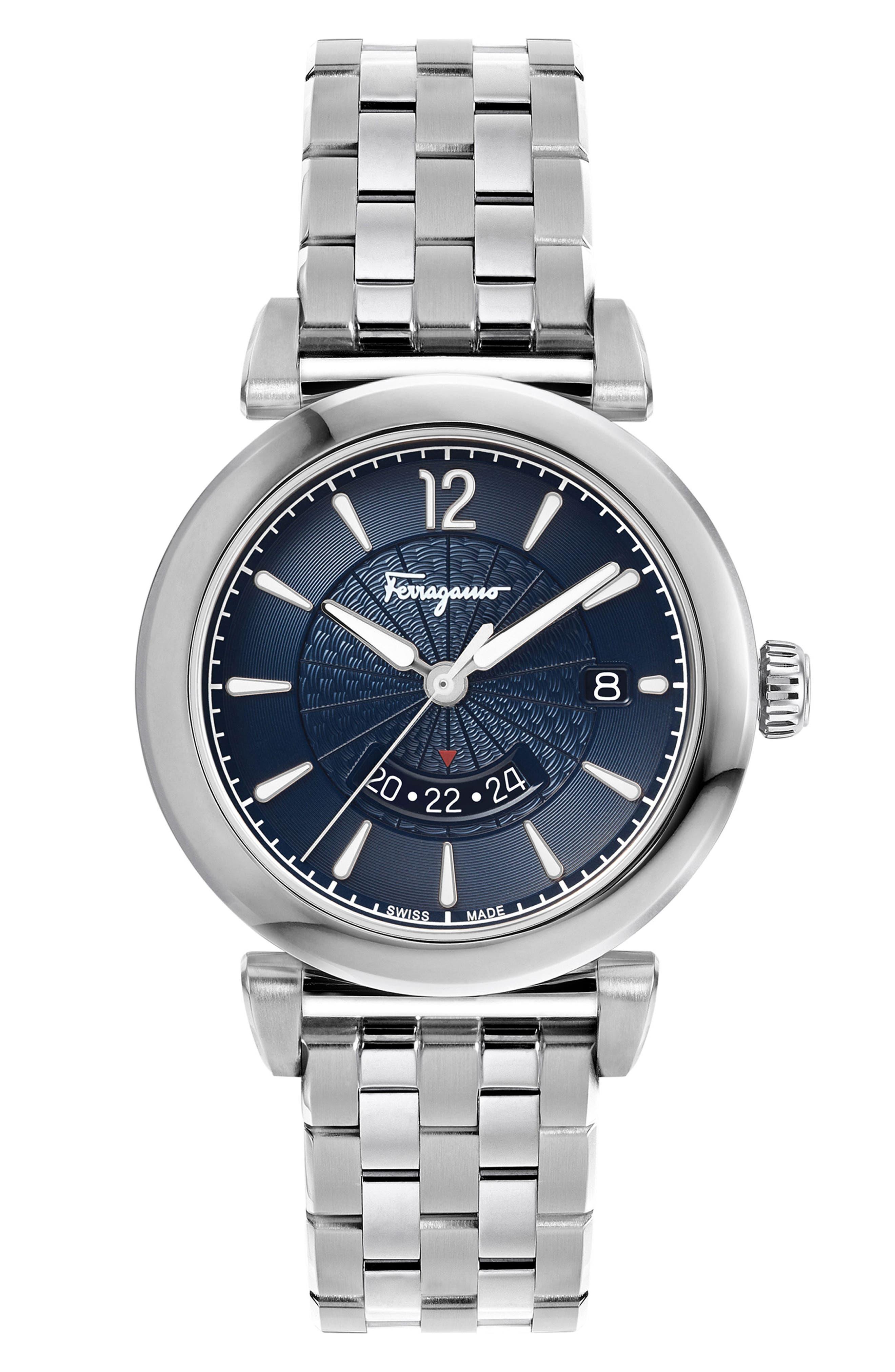Feroni Bracelet Watch, 40mm,                             Main thumbnail 1, color,                             SILVER/ BLUE/ SILVER