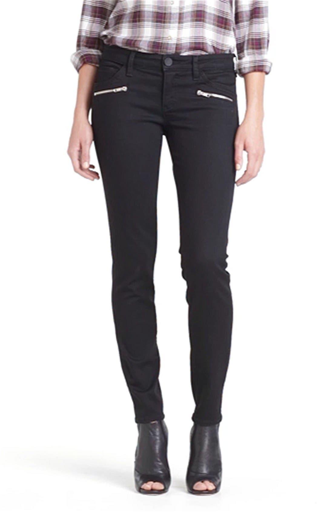Zipper Detail Skinny Jeans,                             Alternate thumbnail 3, color,                             002