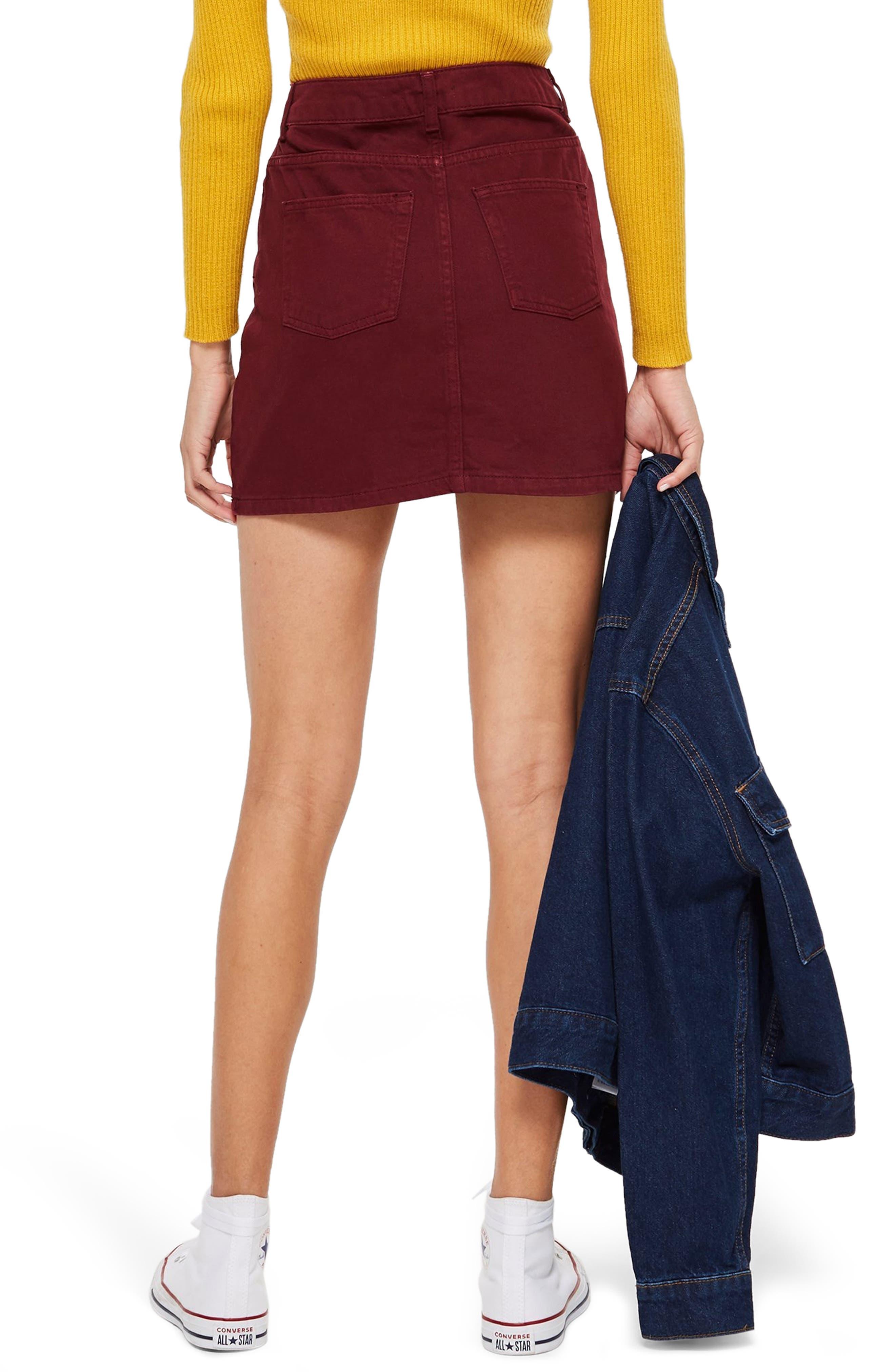 Bordeaux Denim Skirt,                             Alternate thumbnail 2, color,                             BURGUNDY
