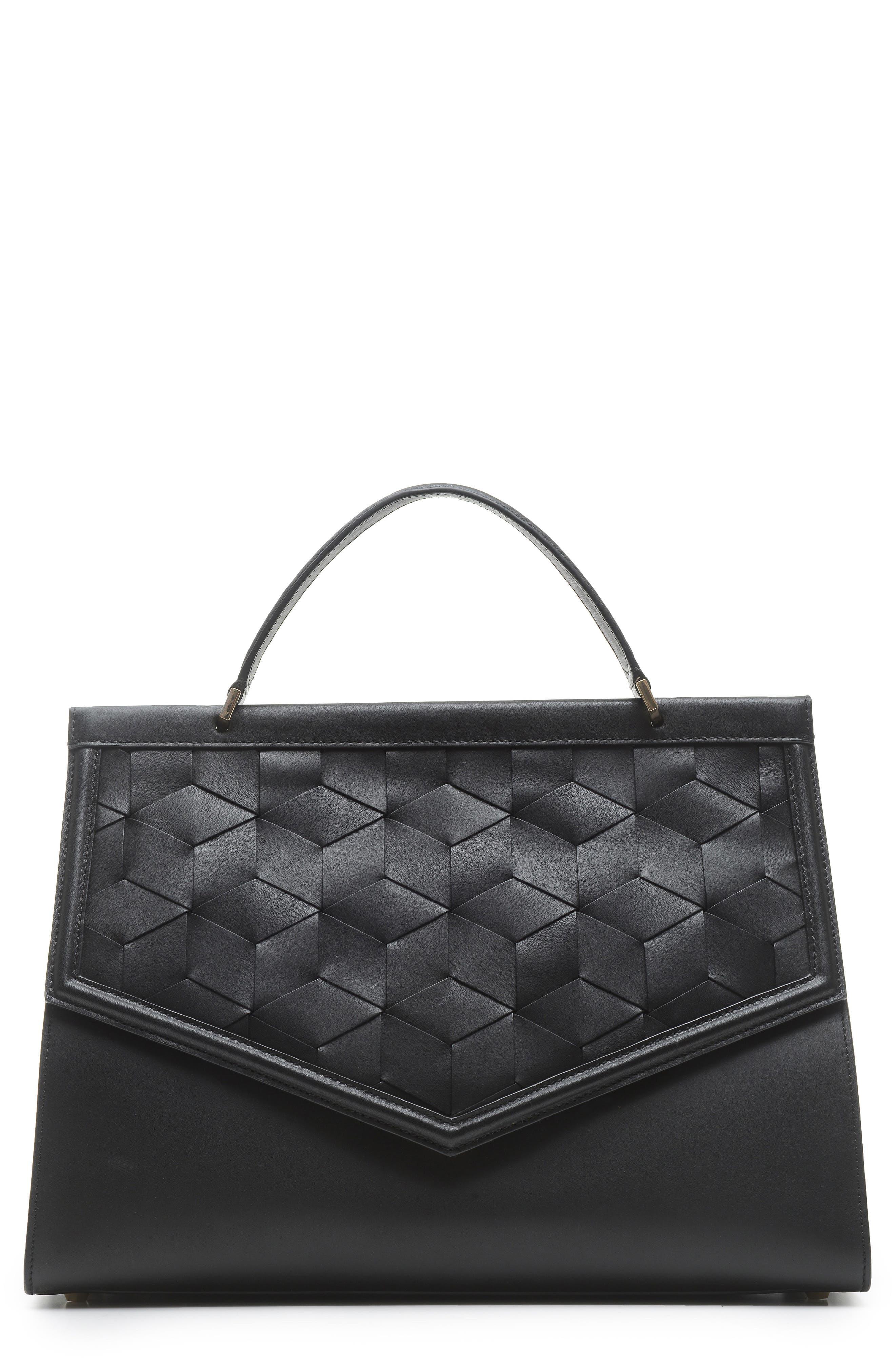 Wayfare Calfskin Leather Top Handle Satchel,                         Main,                         color, BLACK