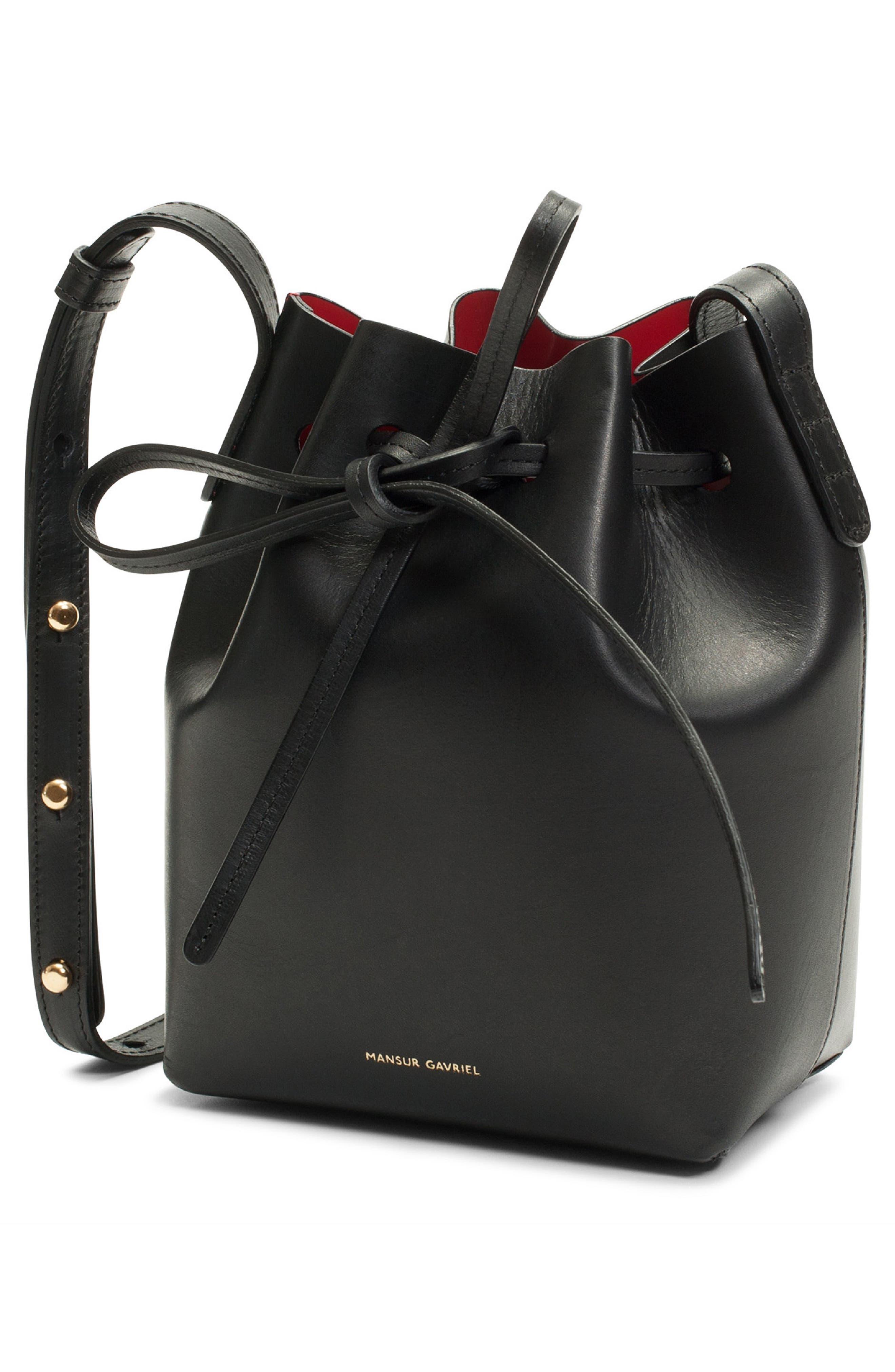 Mini Mini Leather Bucket Bag,                             Alternate thumbnail 3, color,                             BLACK/ FLAMMA