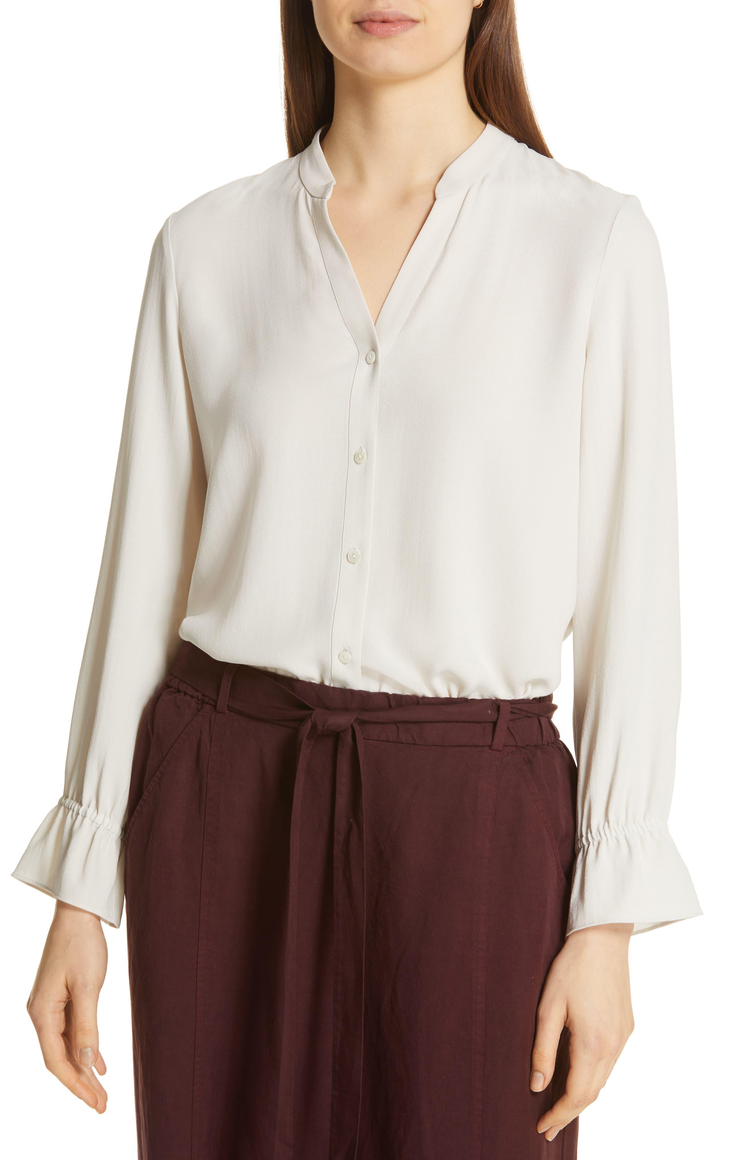 women's eileen fisher flutter cuff silk shirt