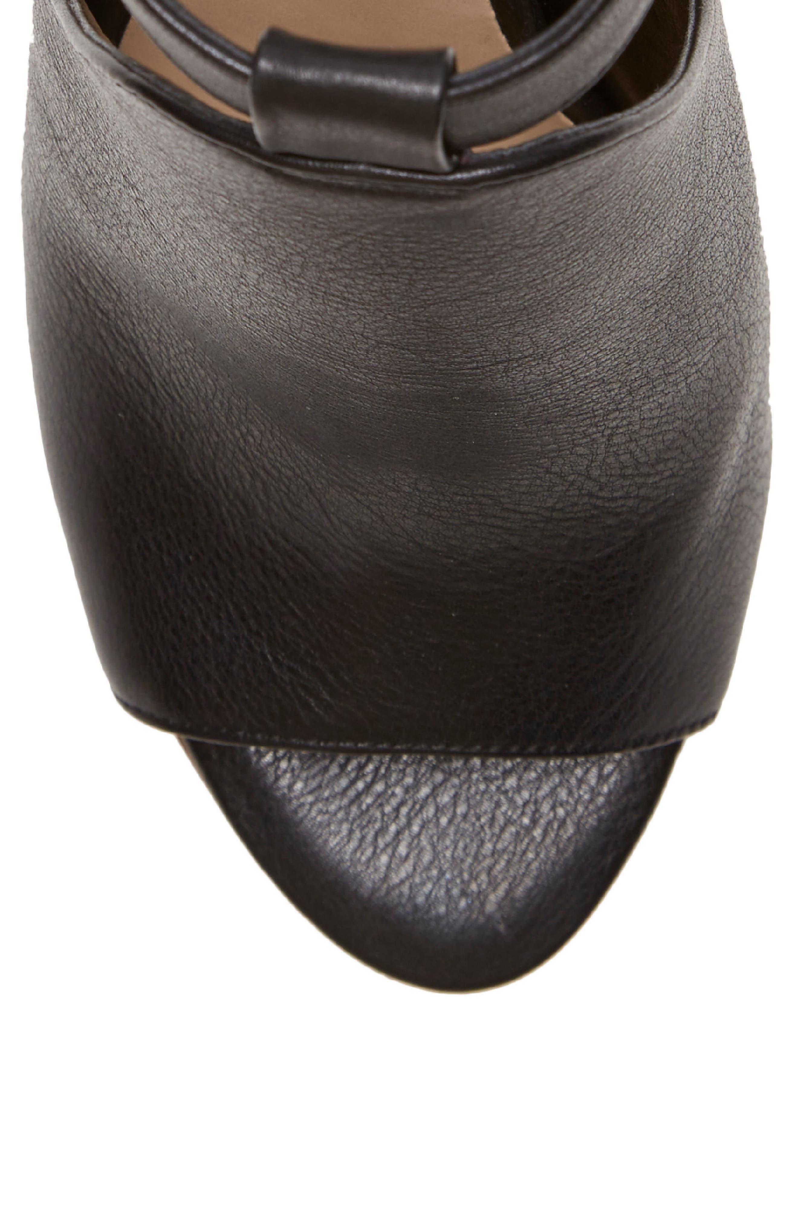 Adaren Peep Toe Sandal,                             Alternate thumbnail 7, color,                             BLACK LEATHER