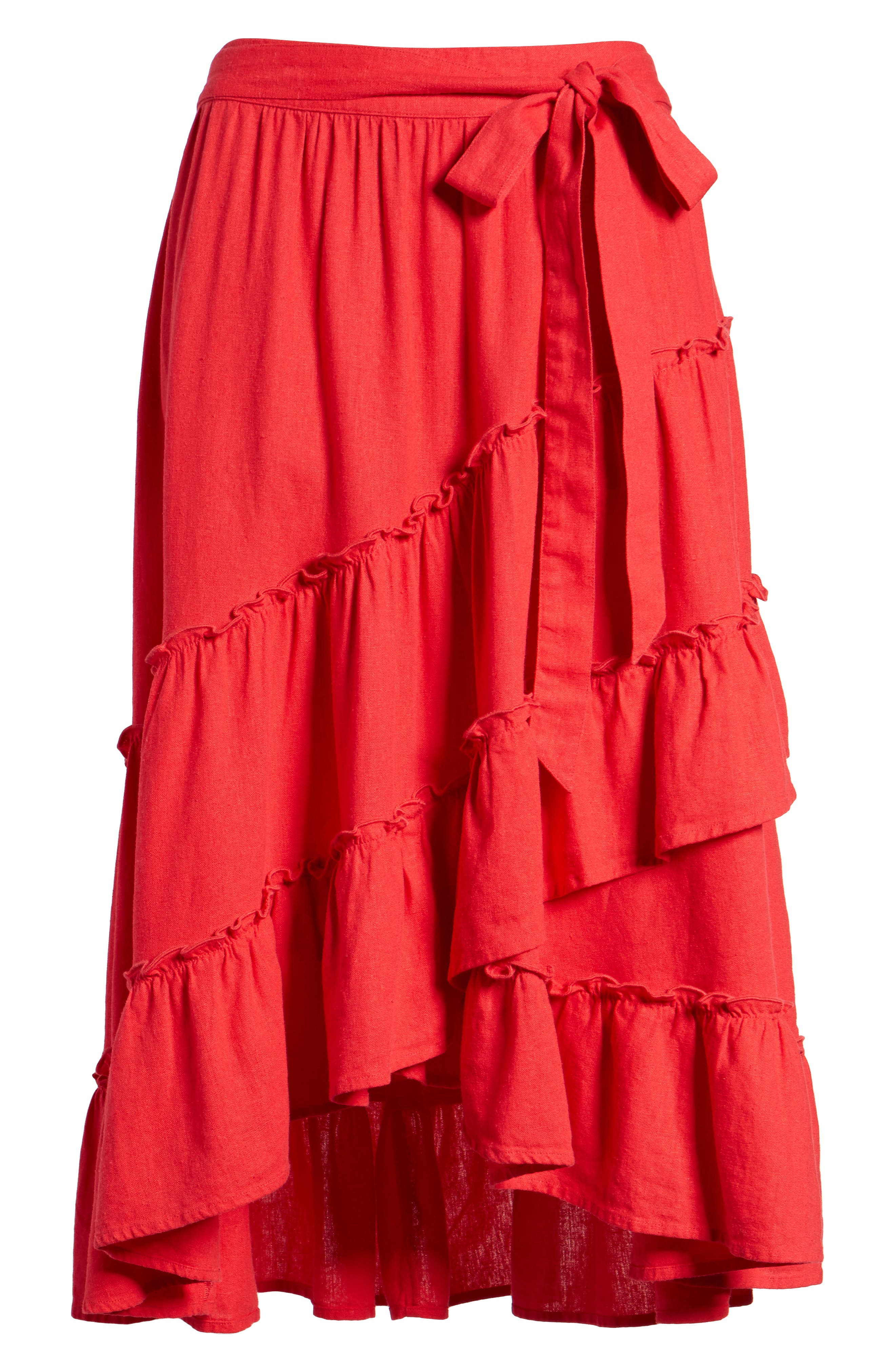 Tiered Faux Wrap Skirt,                             Alternate thumbnail 6, color,