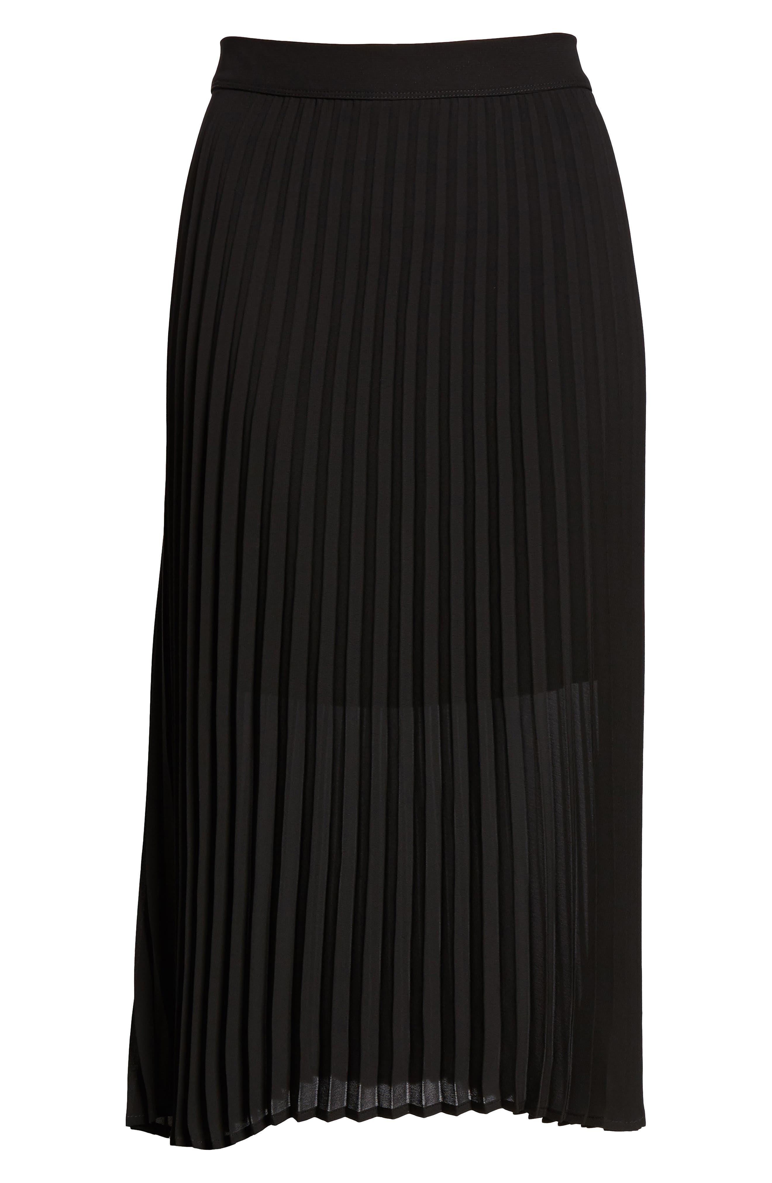 LOVE, FIRE,                             Pleated Georgette Midi Skirt,                             Alternate thumbnail 6, color,                             001