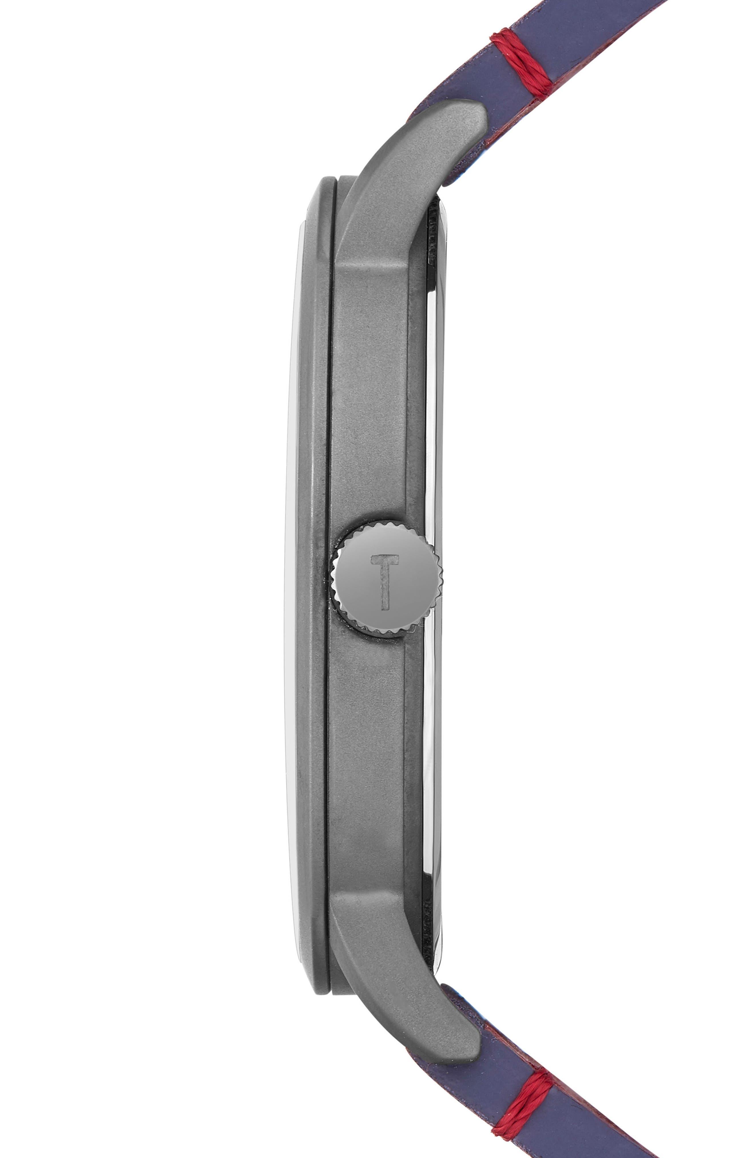 Daniel Synthetic Strap Watch, 42mm,                             Alternate thumbnail 3, color,                             DARK BLUE/ BLUE