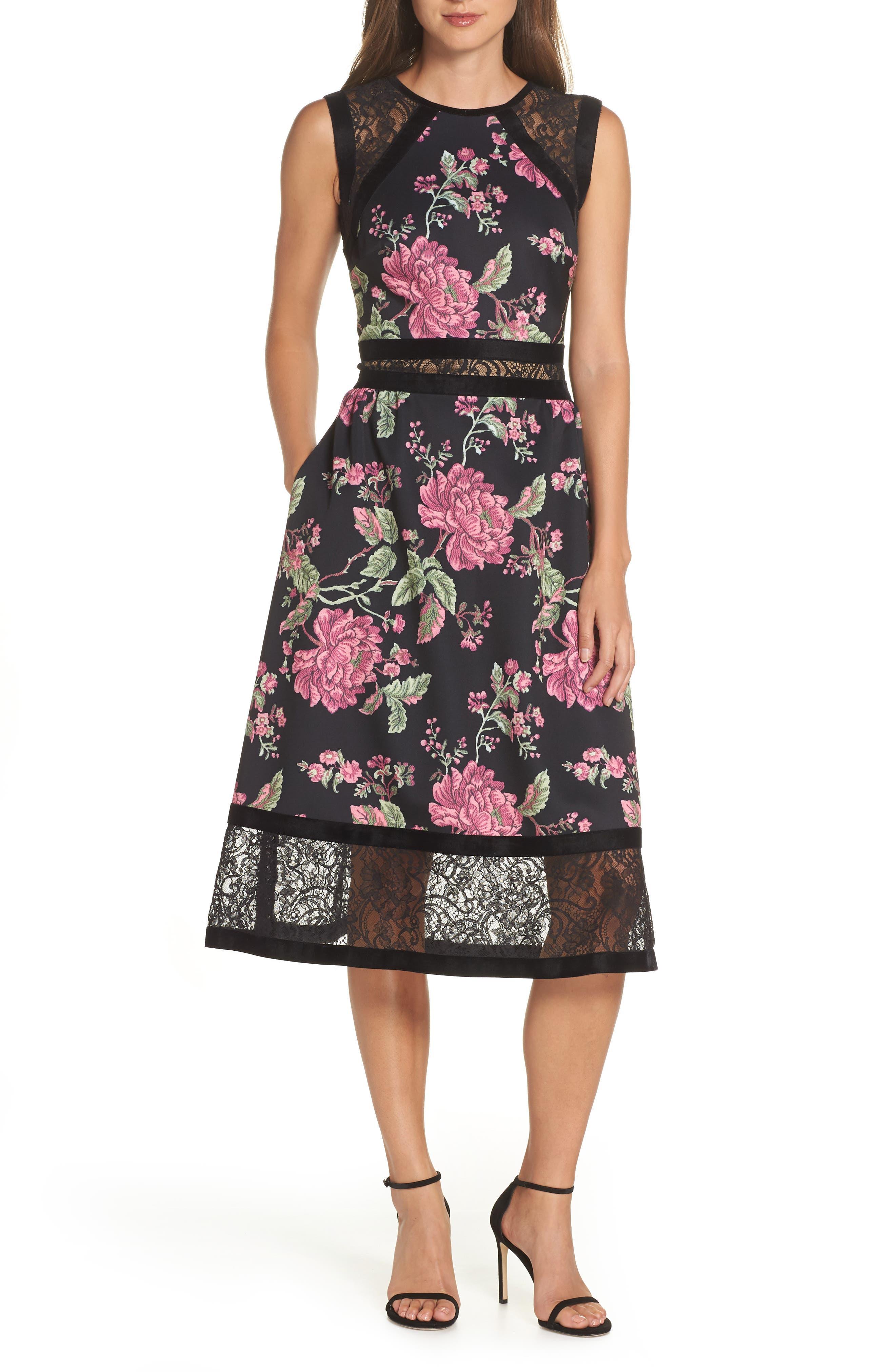 Tadashi Shoji Sleeveless Floral Print Midi Dress, Black