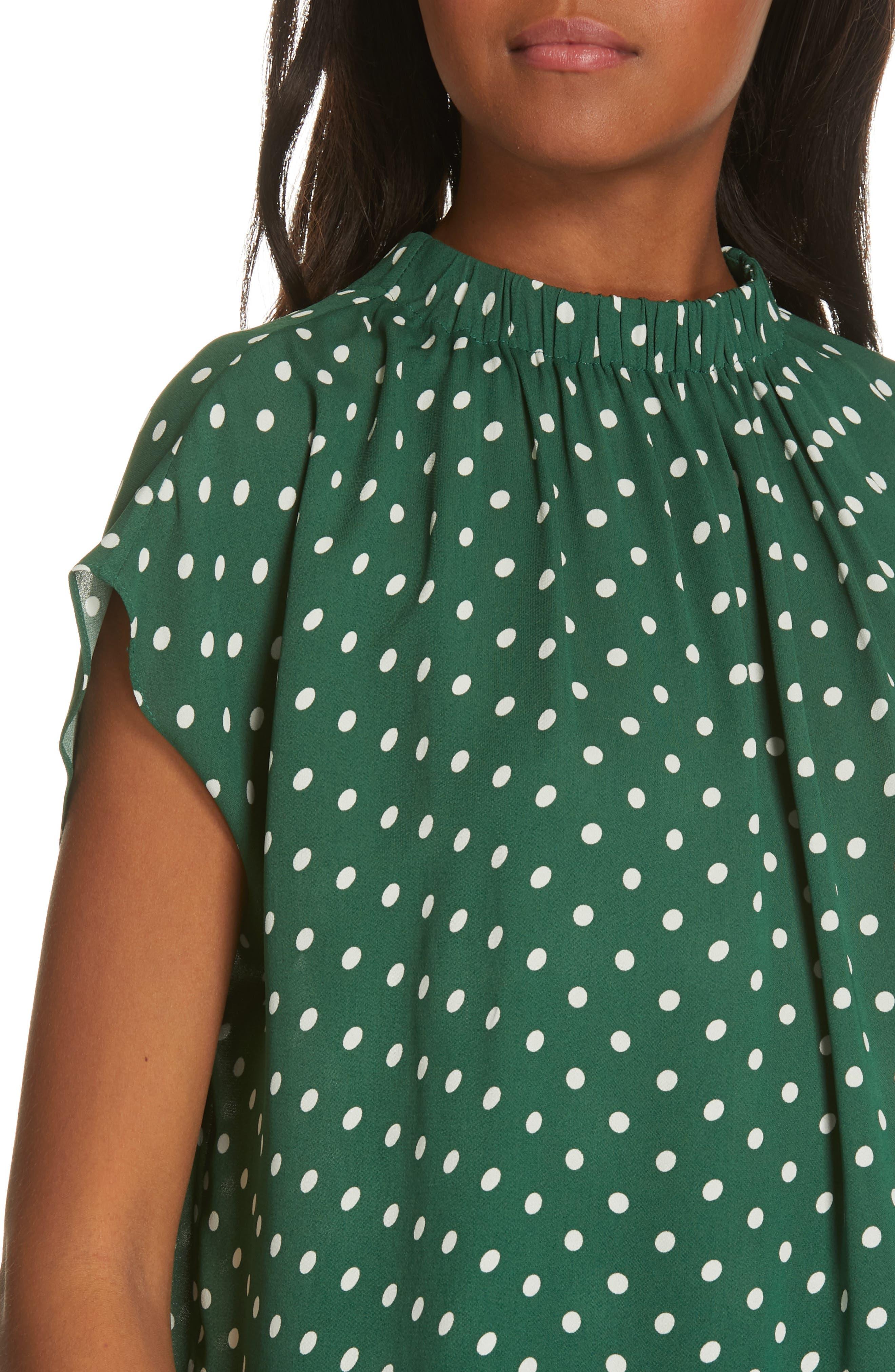 Polka Dot Short Sleeve Top,                             Alternate thumbnail 4, color,                             GREEN EDEN PETITE DOT