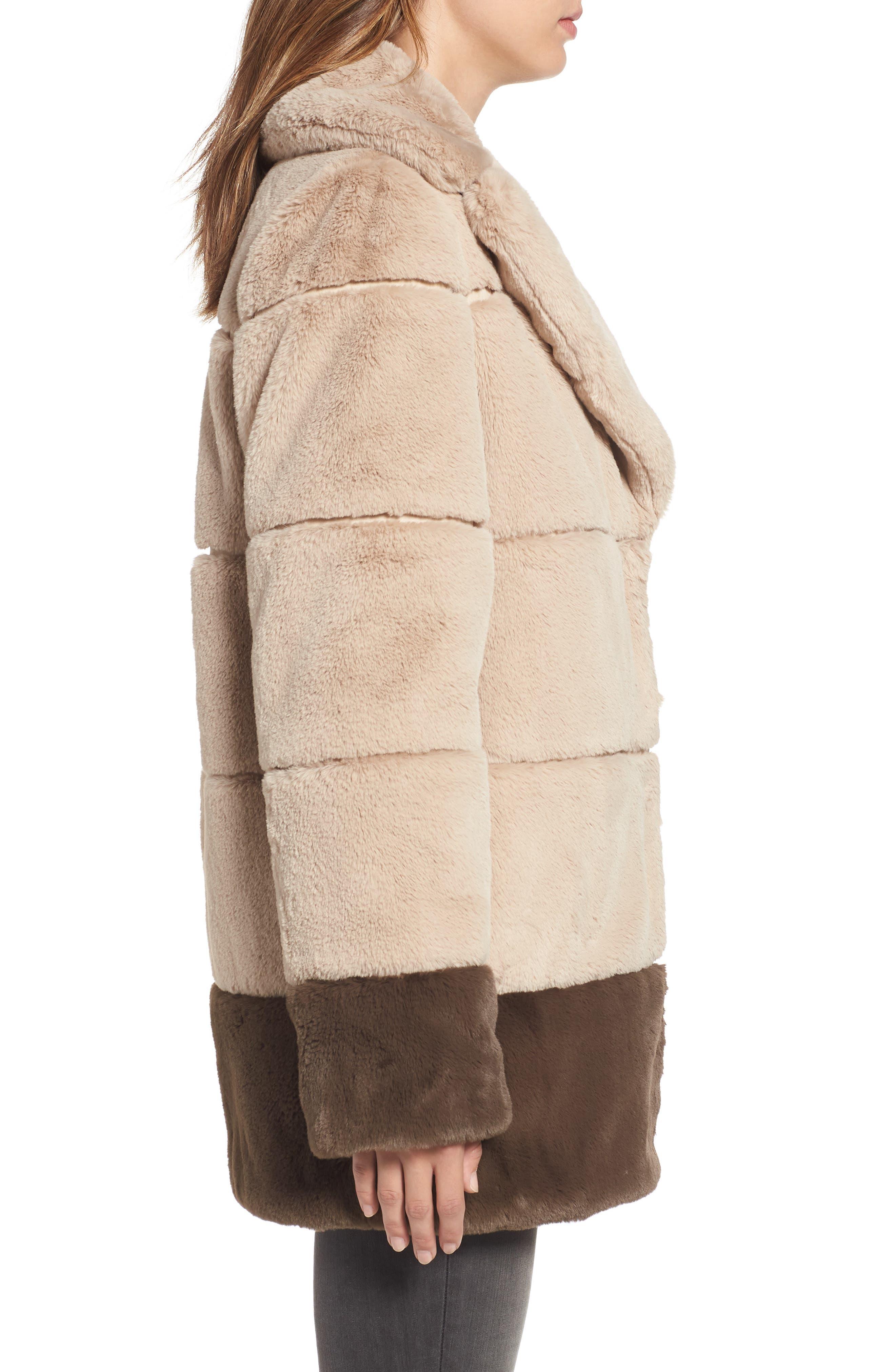 Colorblock Panel Faux Fur Jacket,                             Alternate thumbnail 3, color,                             BEIGE/ BROWN
