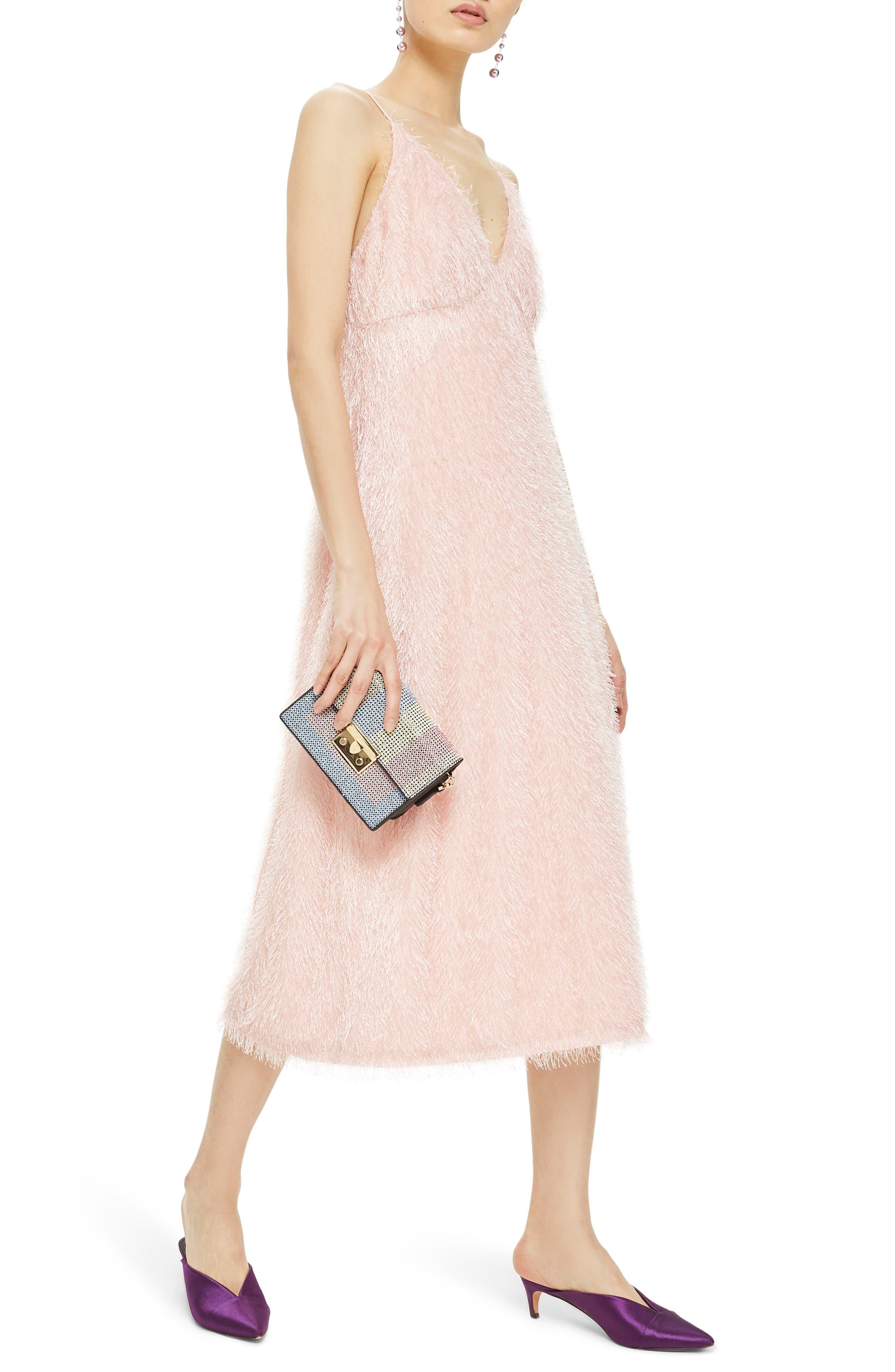 Feather Strappy Midi Dress,                         Main,                         color, 680