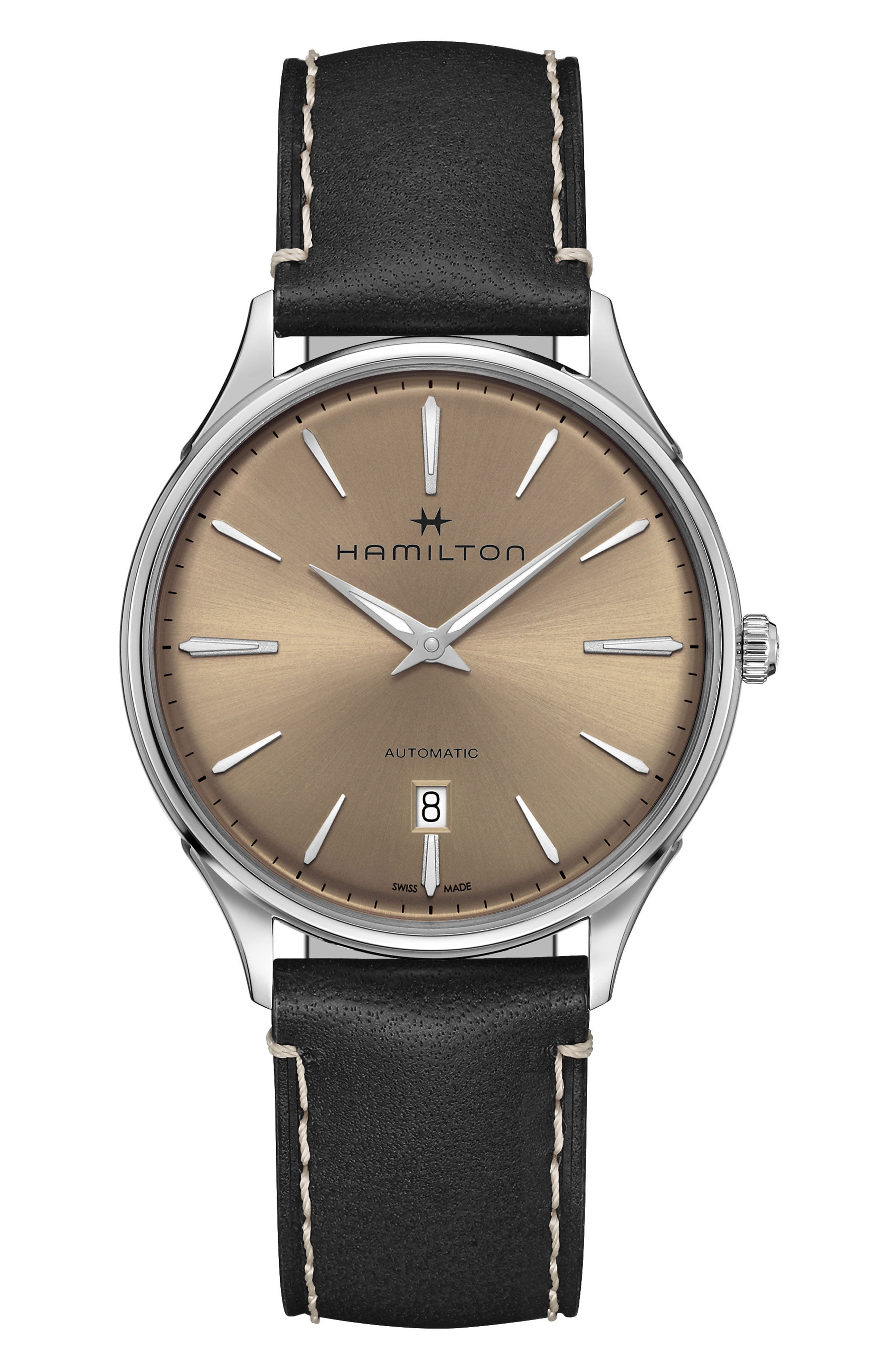 Jazzmaster Thinline Automatic Leather Strap Watch, 40mm,                         Main,                         color, BLACK/ BEIGE/ SILVER