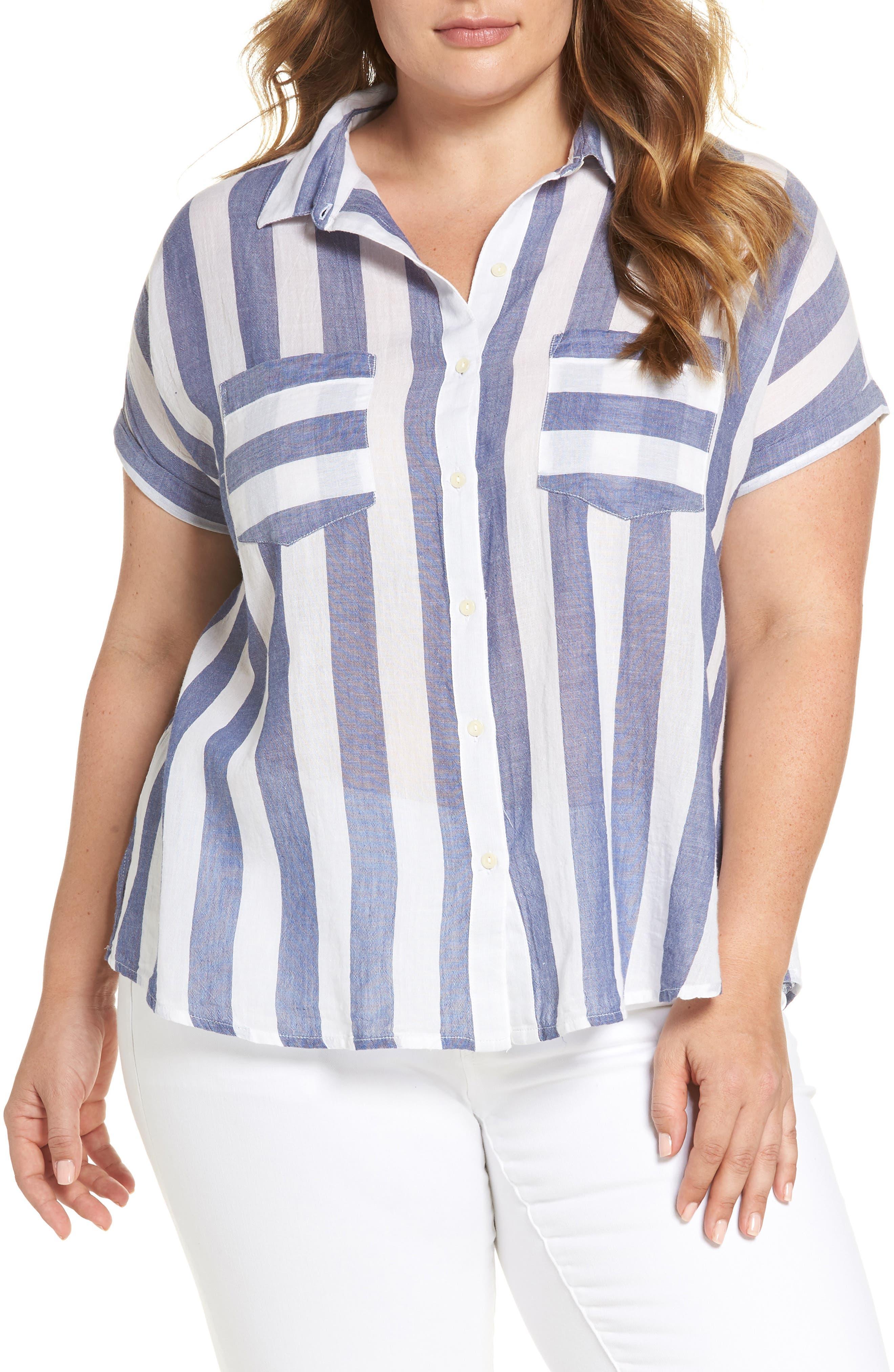 Stripe Back Tie Shirt,                             Main thumbnail 1, color,