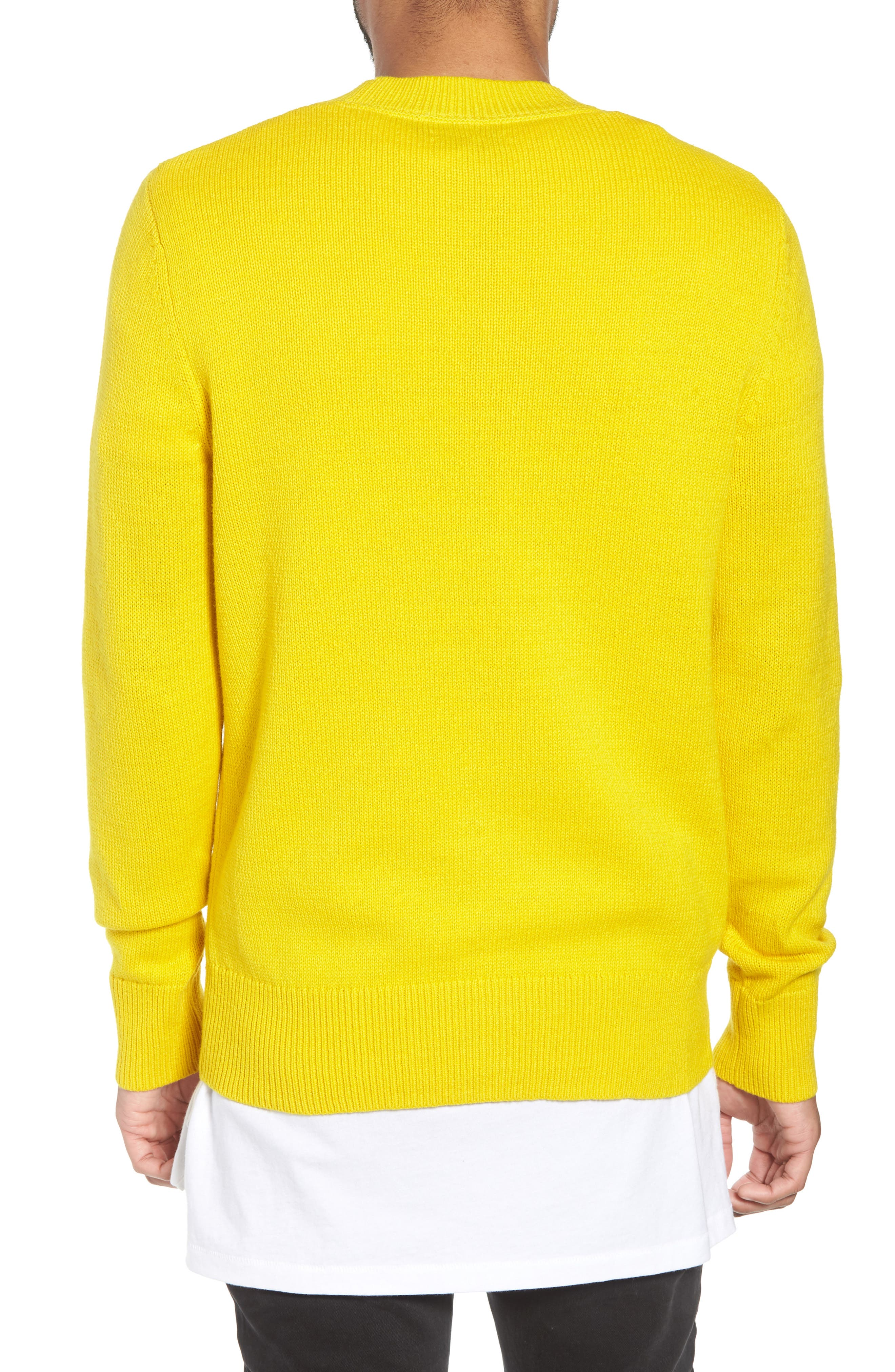 Crewneck Sweater,                             Alternate thumbnail 2, color,                             YELLOW SULPHUR