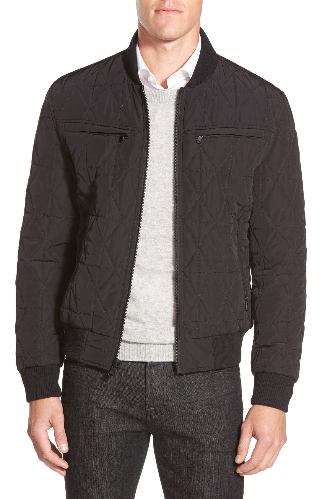 Diamond Quilted Zip Front Jacket,                             Main thumbnail 1, color,                             001