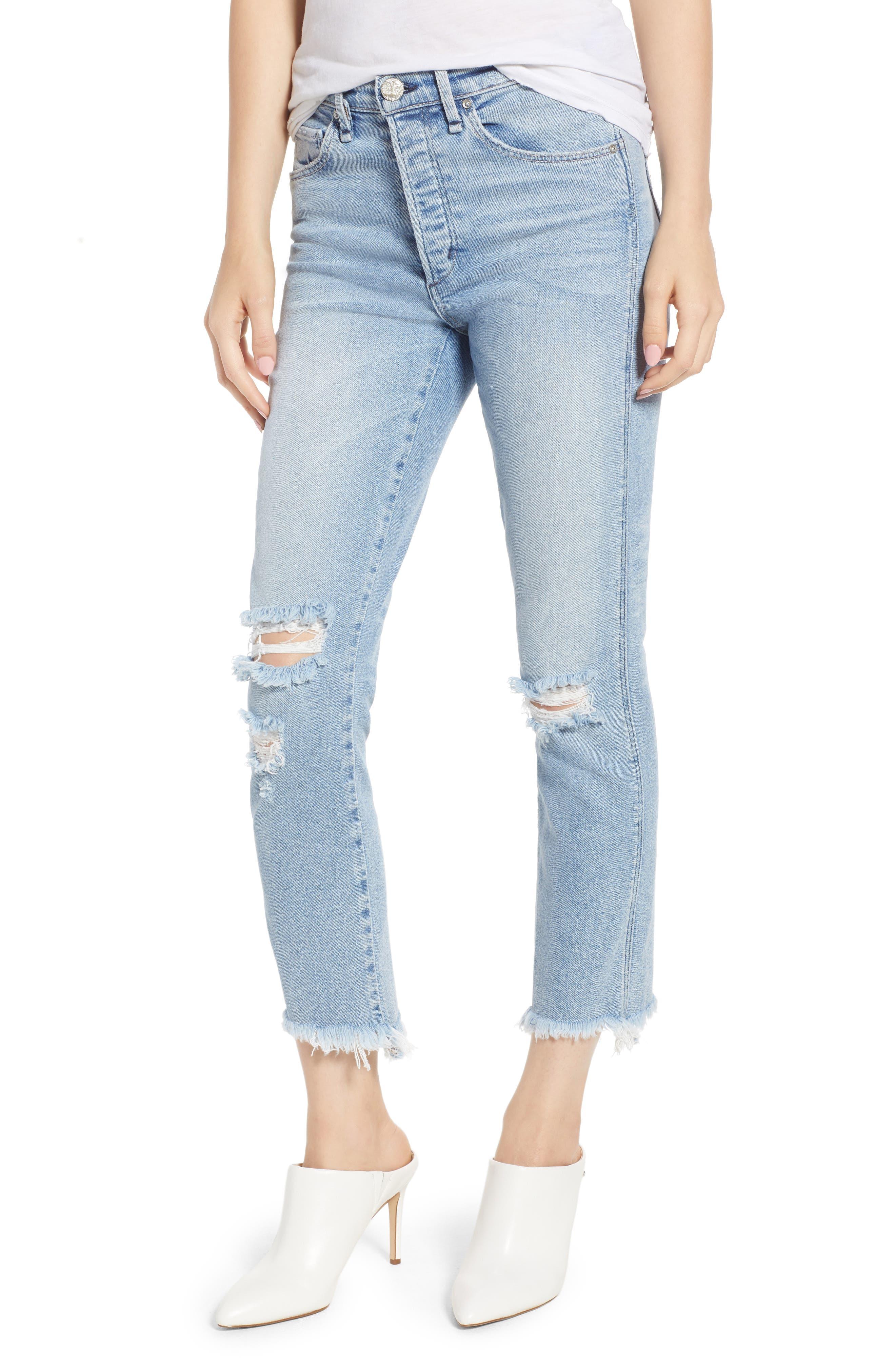Valetta High Waist Crop Straight Leg Jeans,                             Main thumbnail 1, color,                             450