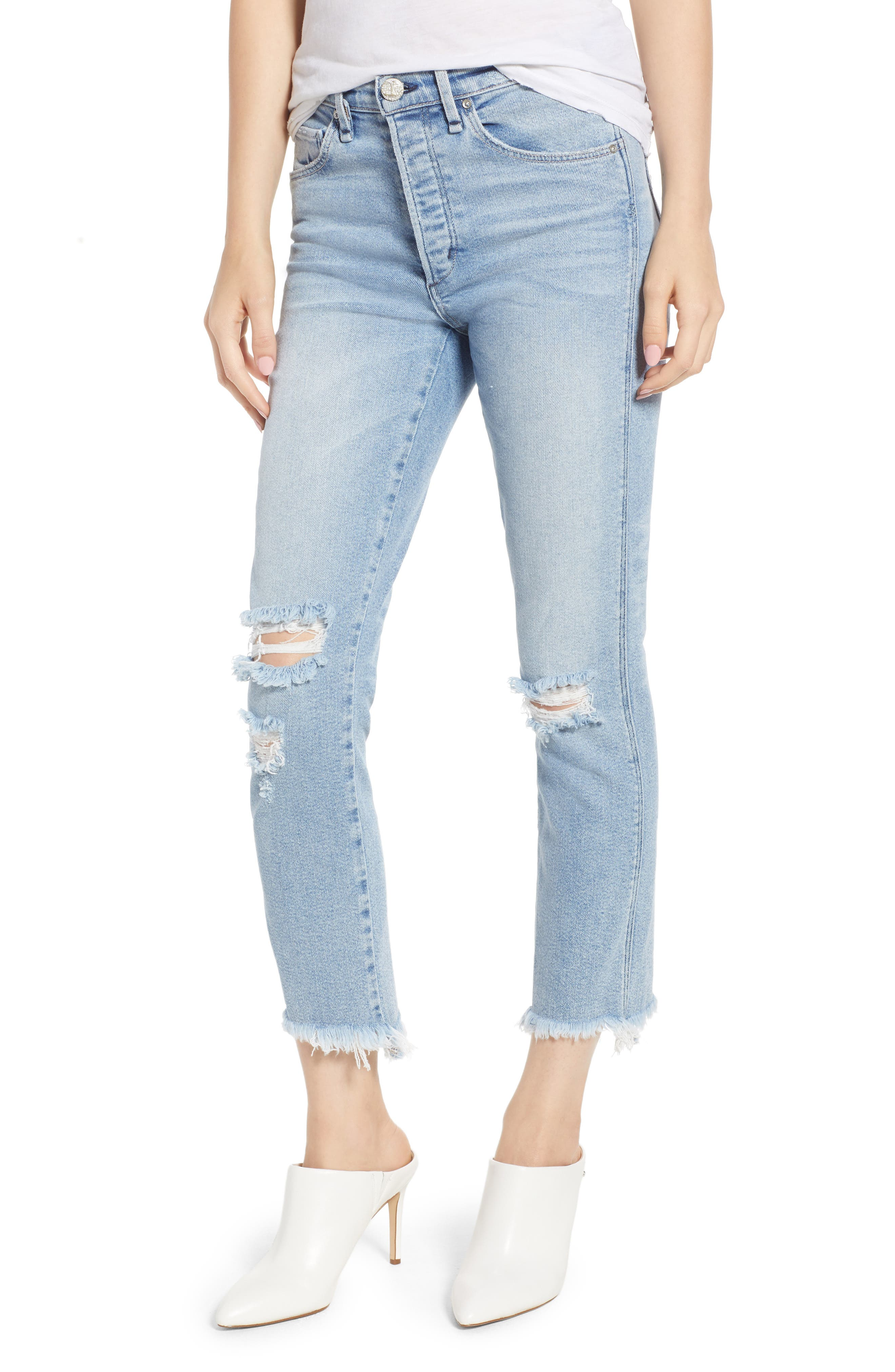 Valetta High Waist Crop Straight Leg Jeans,                         Main,                         color, 450