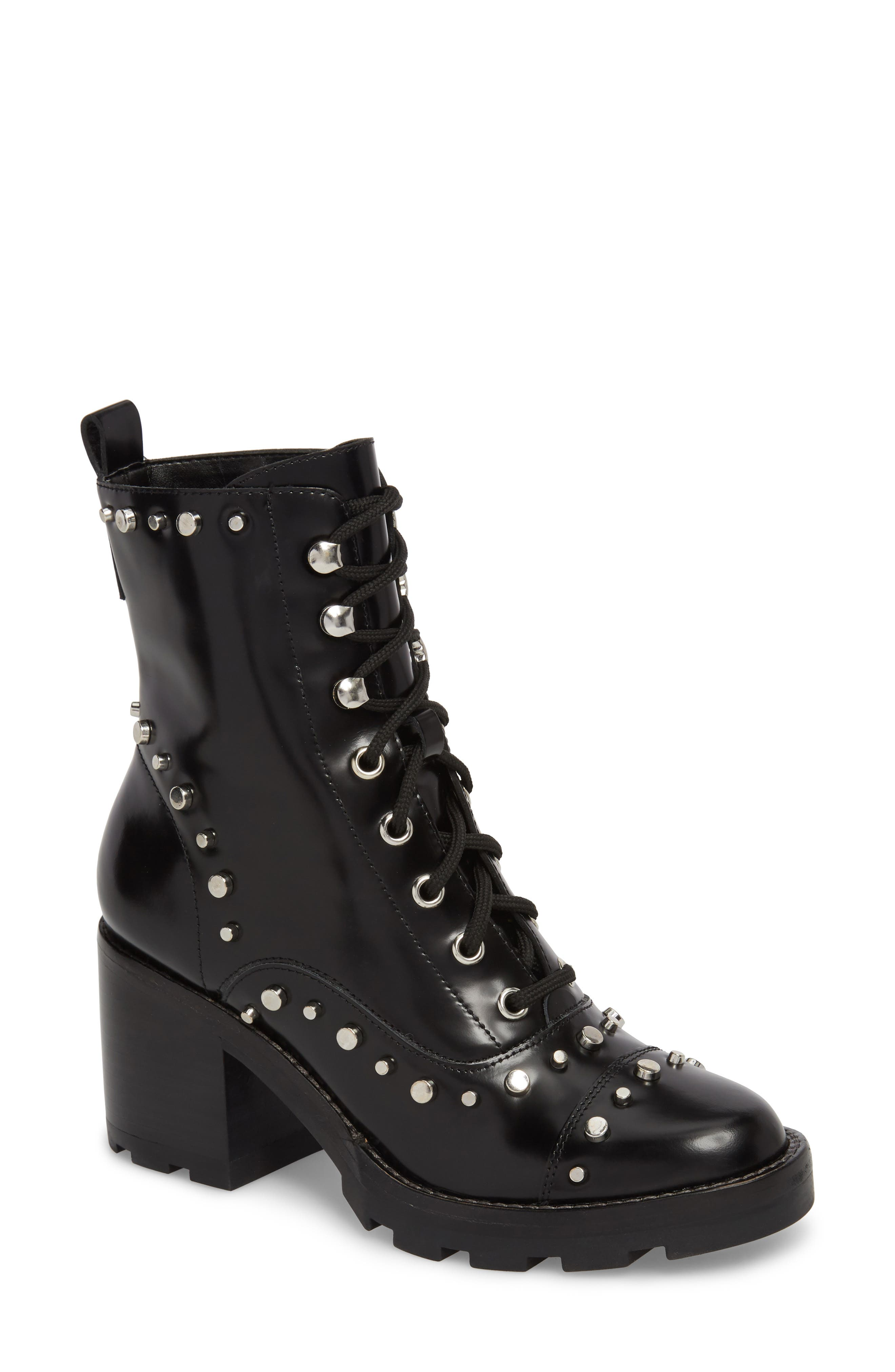 Westly Combat Boot,                         Main,                         color, BLACK LEATHER
