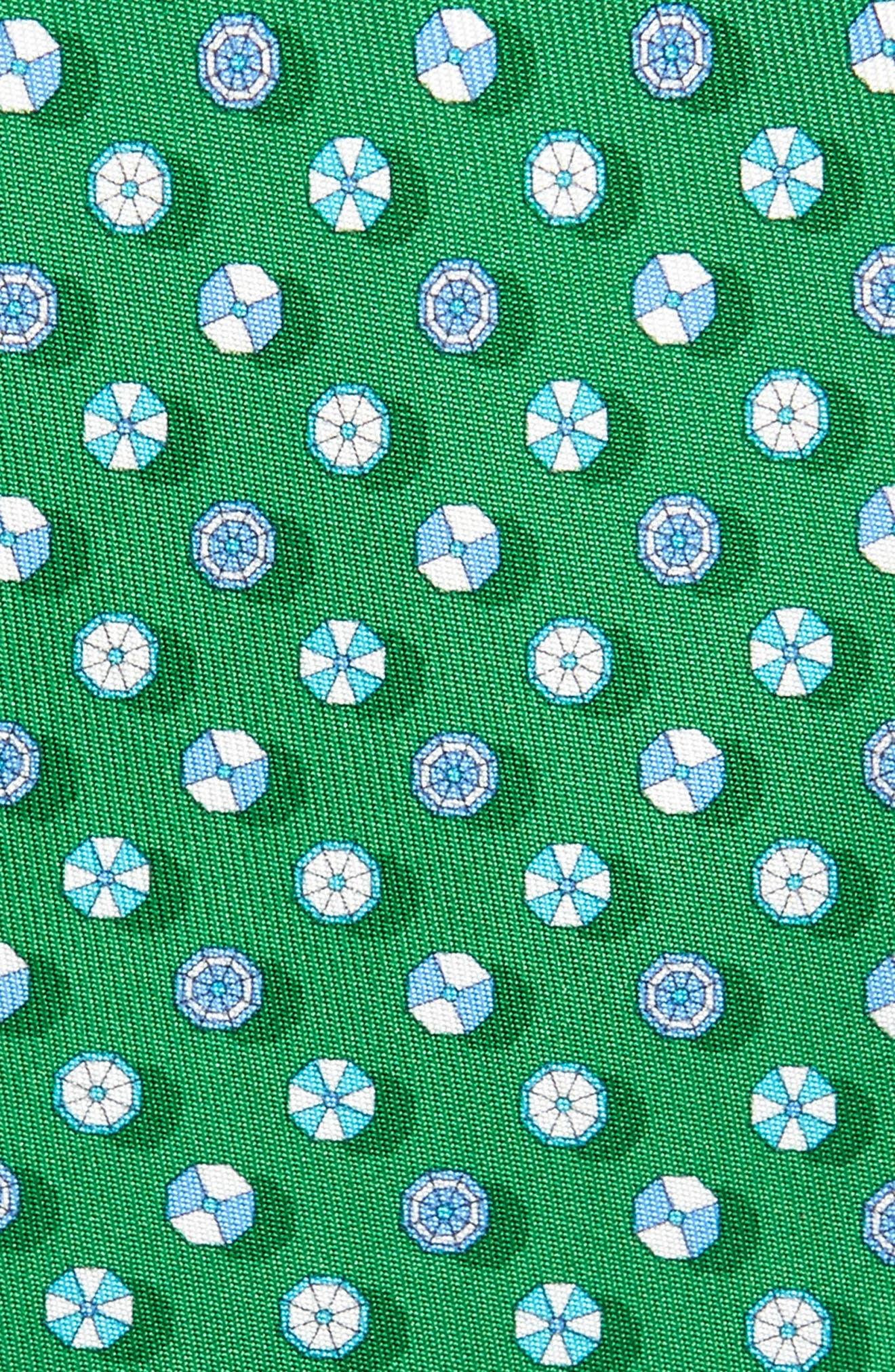 SALVATORE FERRAGAMO,                             Beach Umbrella Silk Tie,                             Alternate thumbnail 2, color,                             VERDE / AZZU
