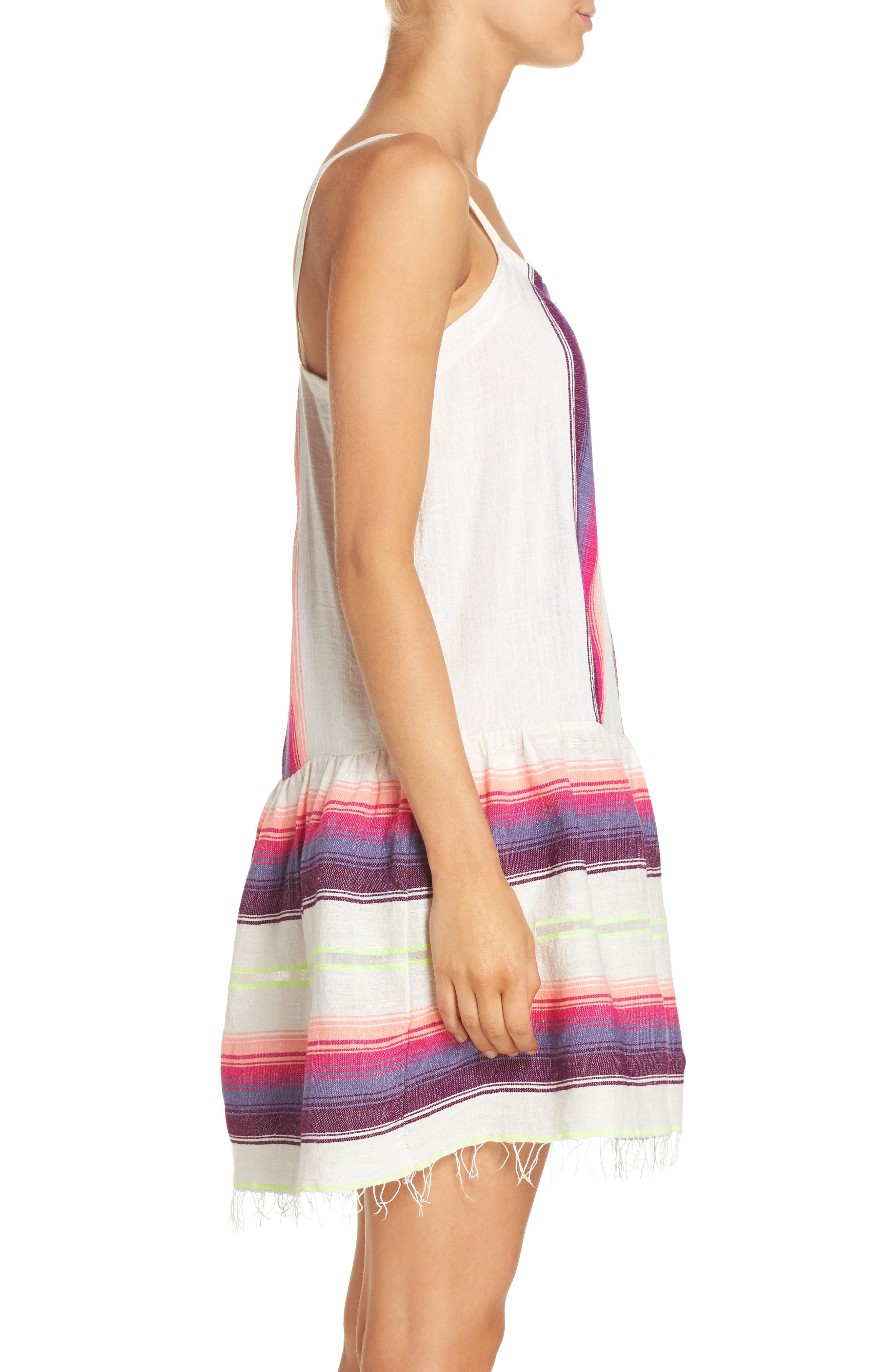 Stripe Cover-Up Dress,                             Alternate thumbnail 3, color,                             100
