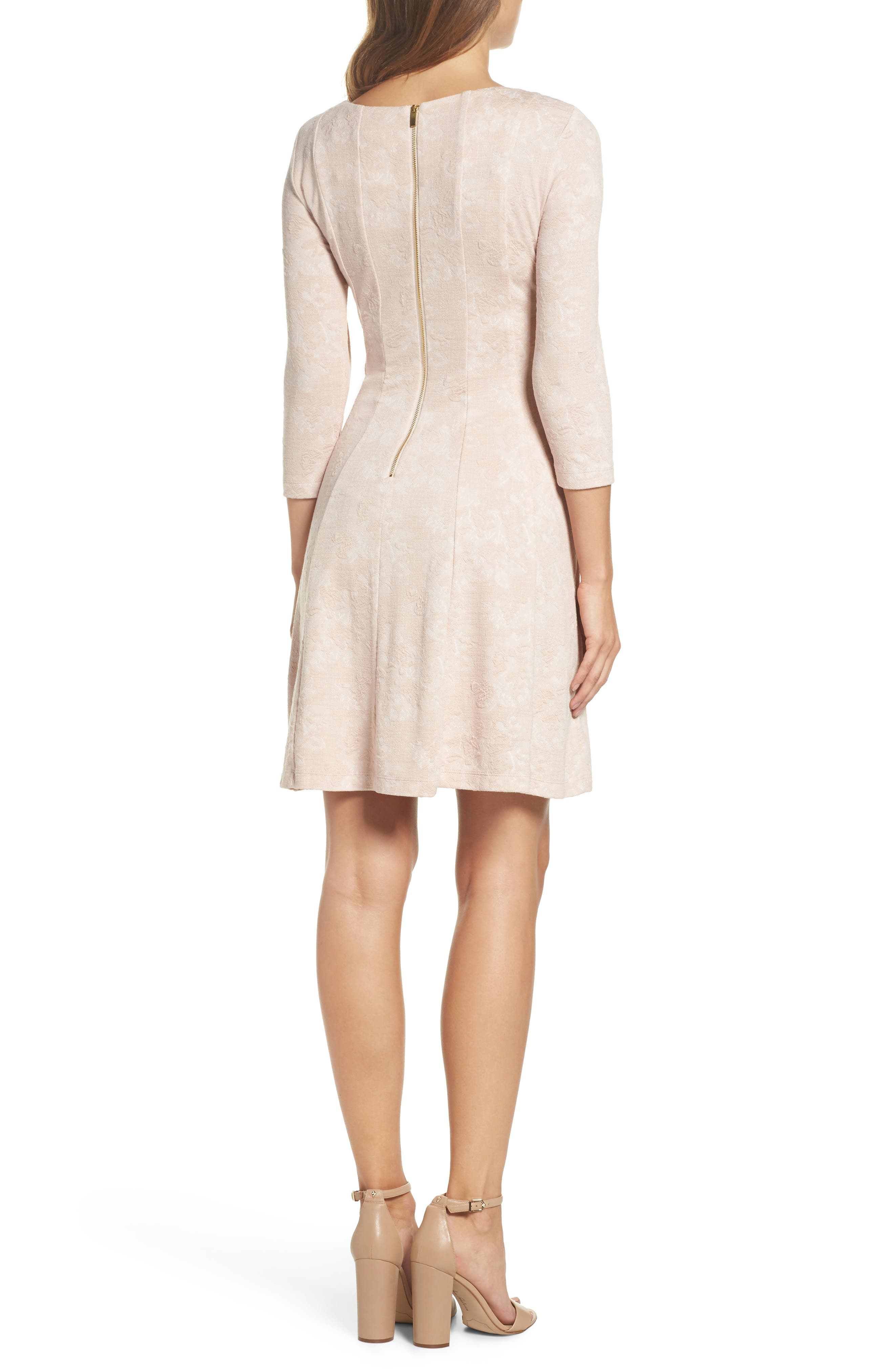 Jacquard Knit Fit & Flare Dress,                             Alternate thumbnail 4, color,