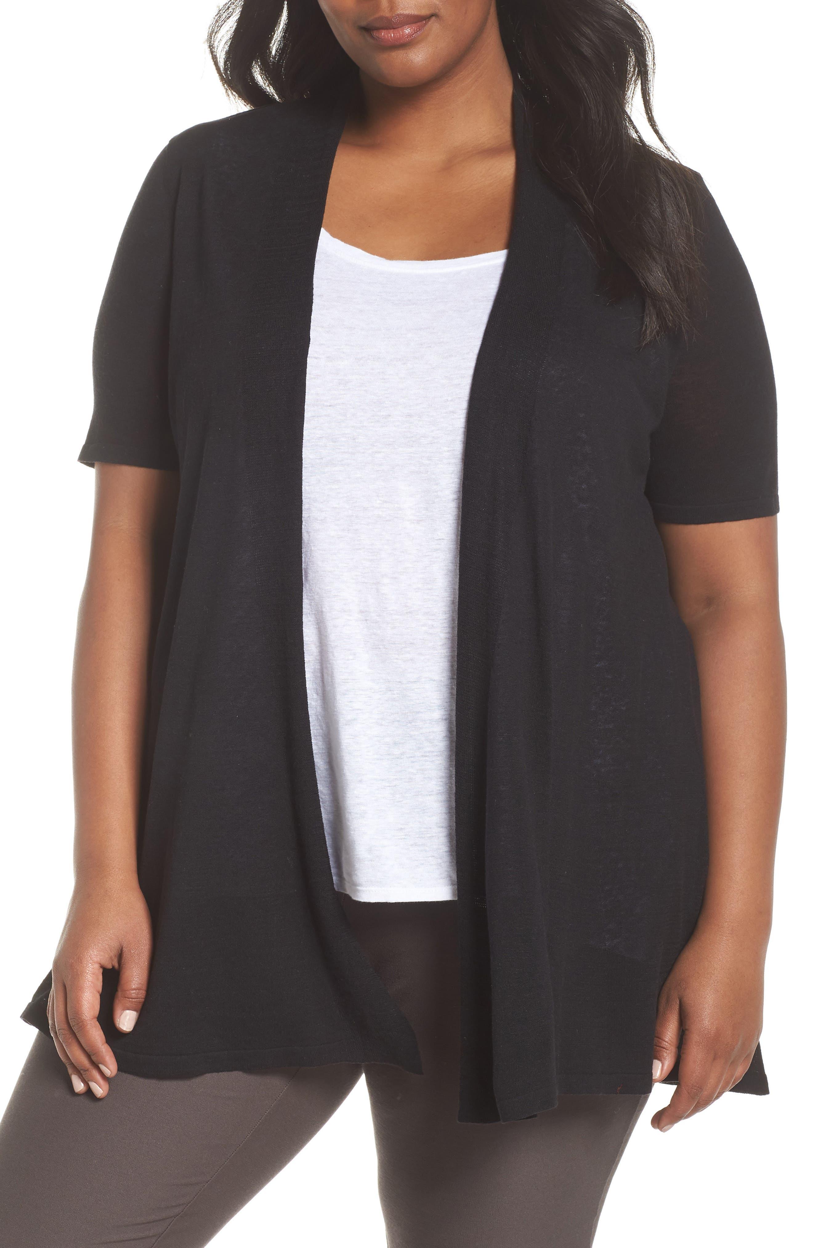 Silk & Organic Linen Long Cardigan,                         Main,                         color, 001