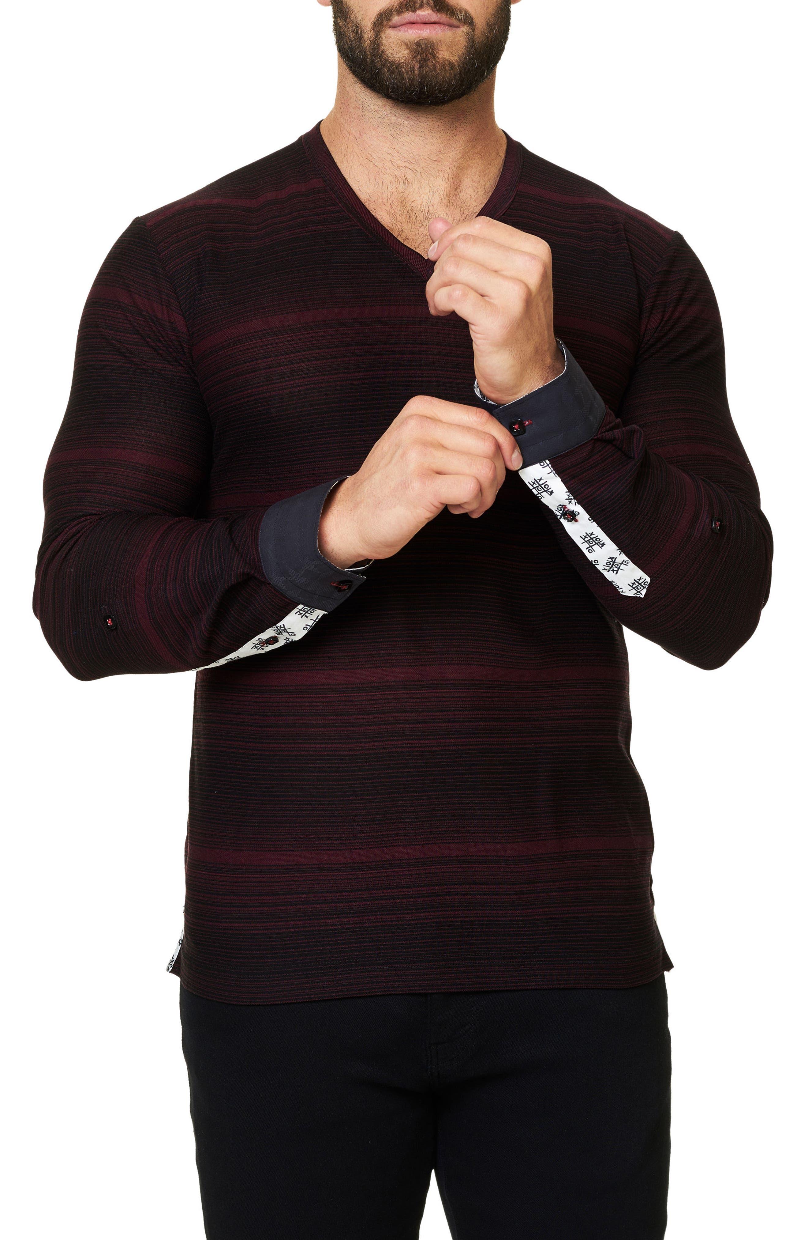 Stripe Long Sleeve V-Neck,                             Alternate thumbnail 3, color,                             002