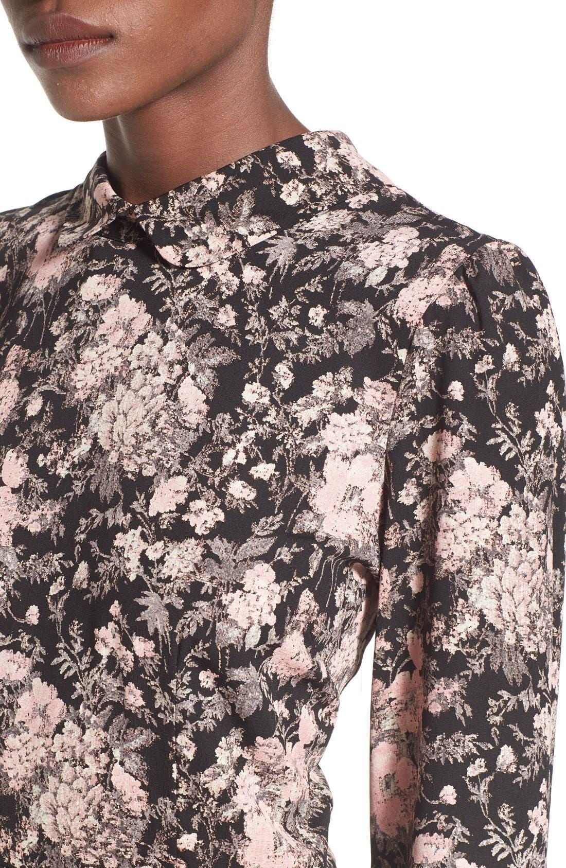SIENNA SKY,                             Floral Print Long Sleeve Romper,                             Alternate thumbnail 3, color,                             001