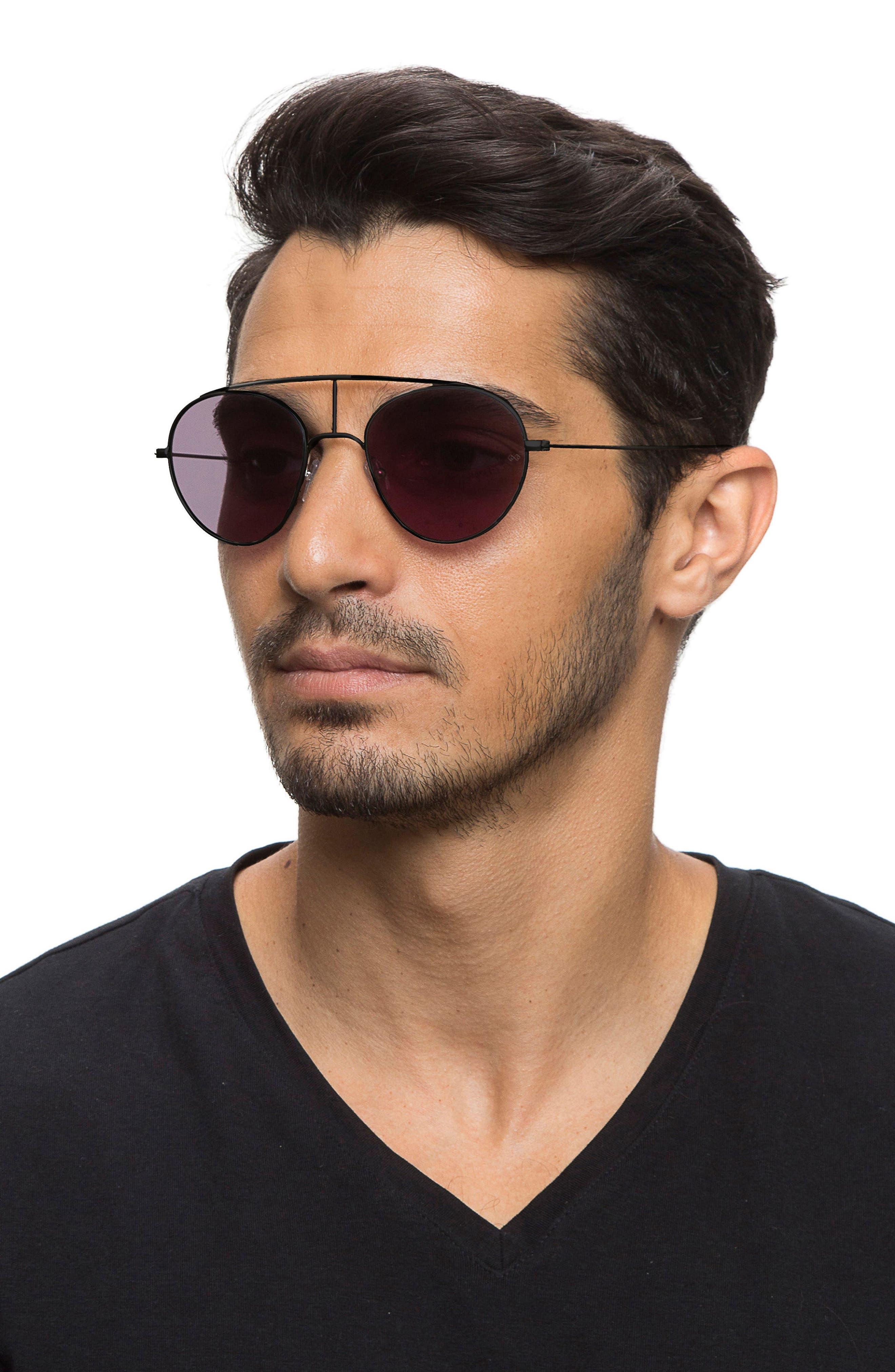 Geo 6 53mm Retro Sunglasses,                             Alternate thumbnail 3, color,                             001
