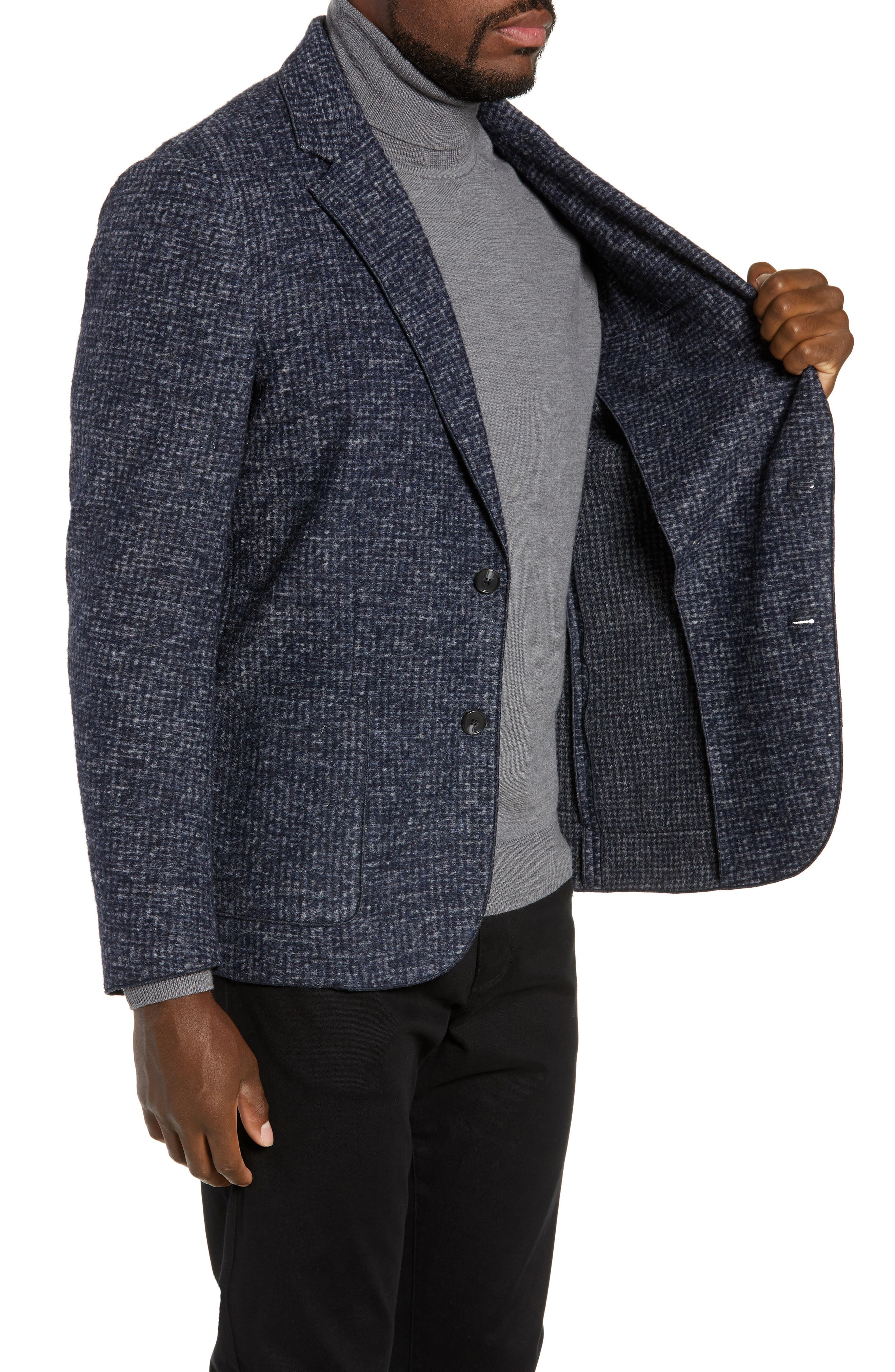 Randolph Houndstooth Knit Sport Coat,                             Alternate thumbnail 3, color,                             DARK BLUE