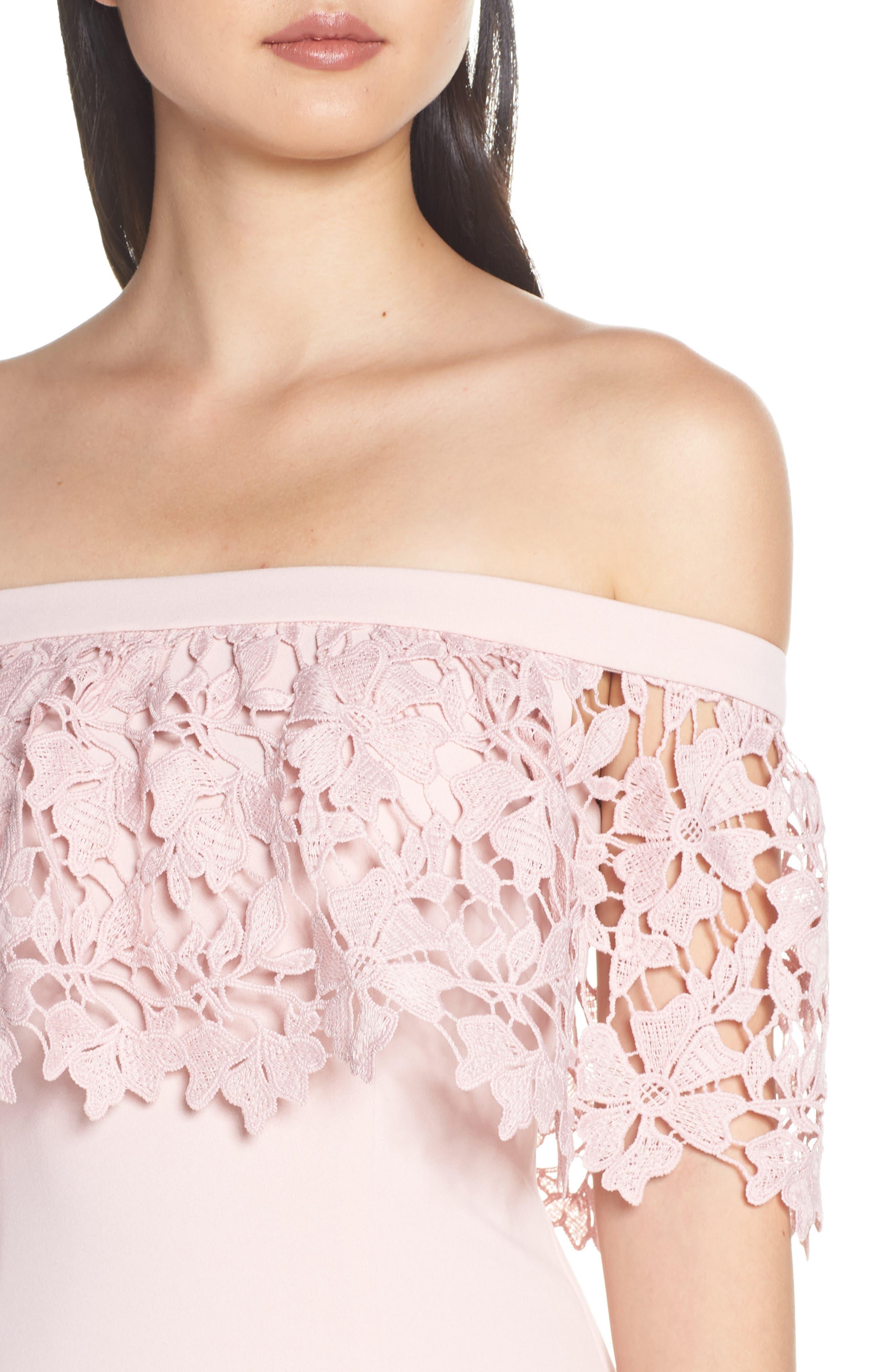 ELIZA J,                             Off the Shoulder Sheath Dress,                             Alternate thumbnail 5, color,                             BLUSH