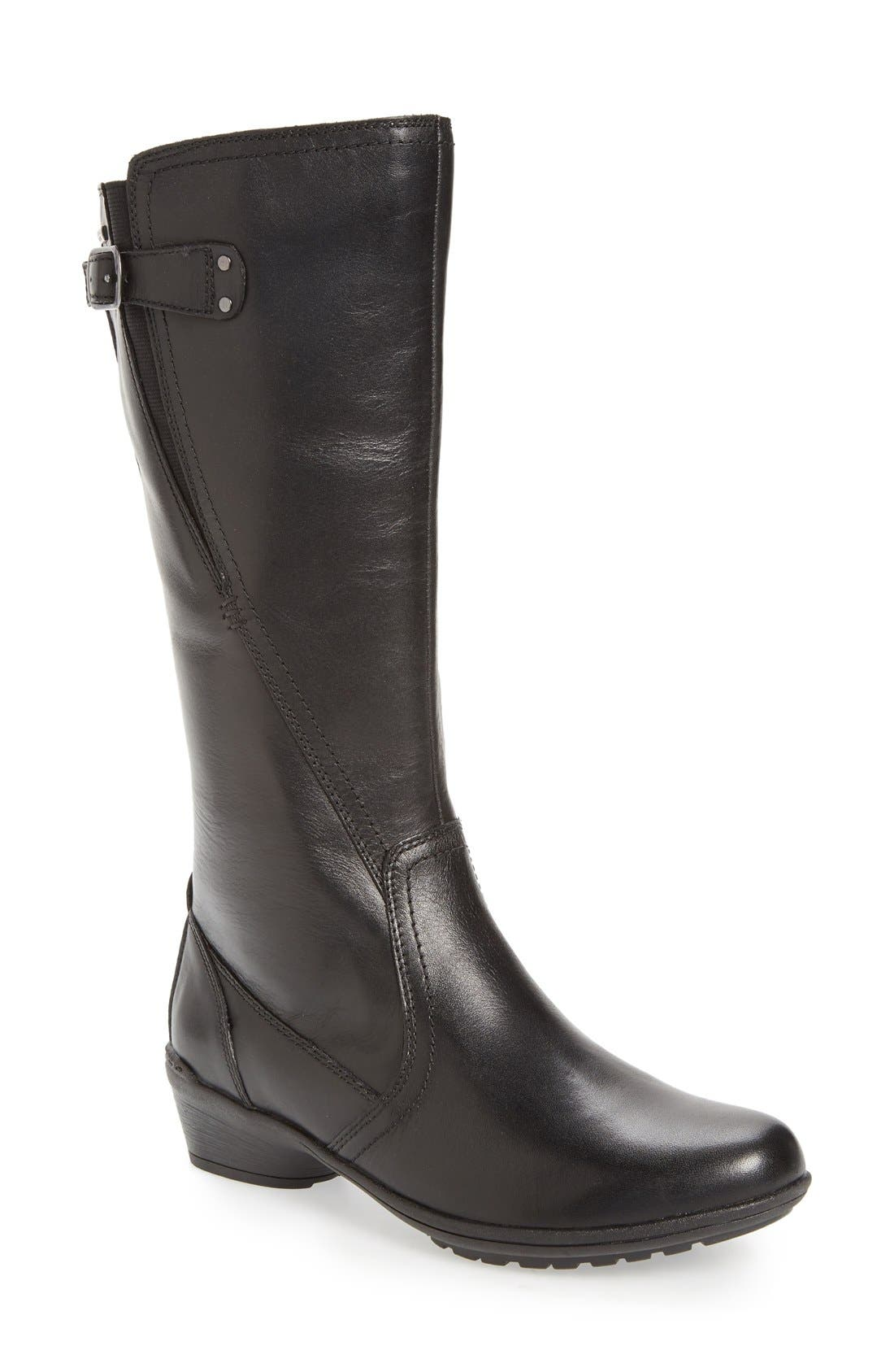 'Rayna' Waterproof Boot,                             Main thumbnail 1, color,                             BLACK LEATHER
