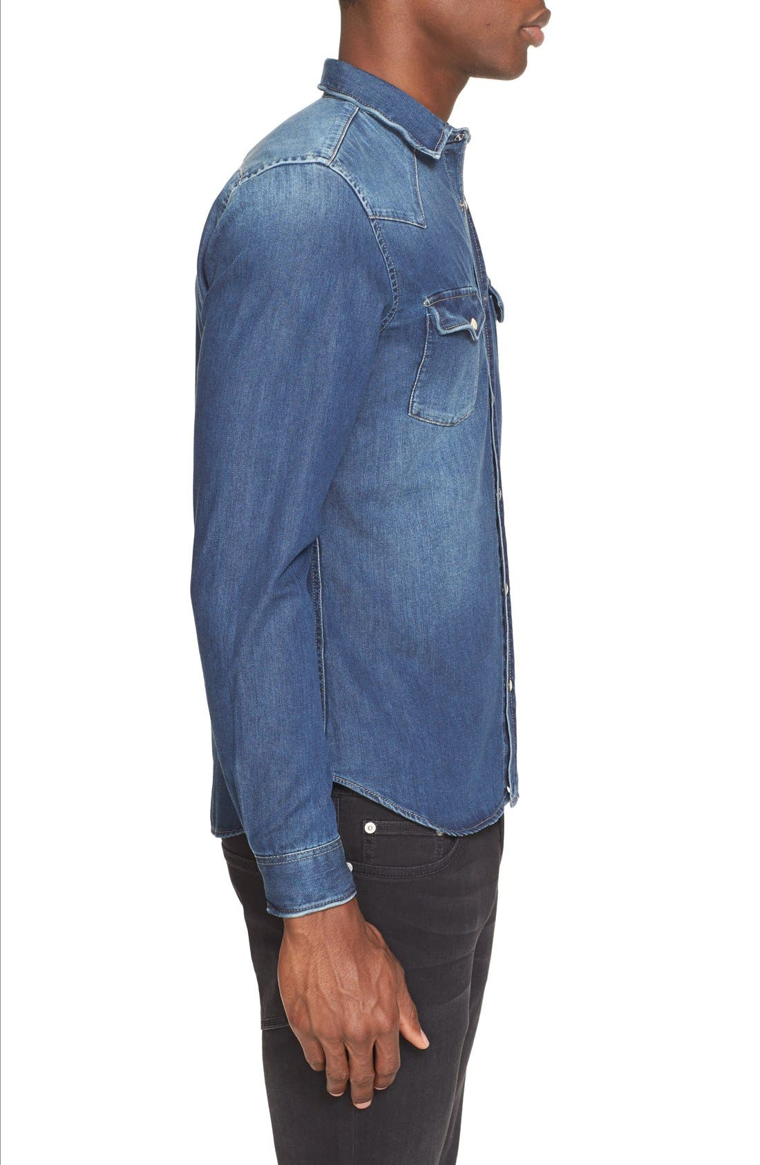 Trim Fit Washed Denim Western Shirt,                             Alternate thumbnail 5, color,                             BLUE