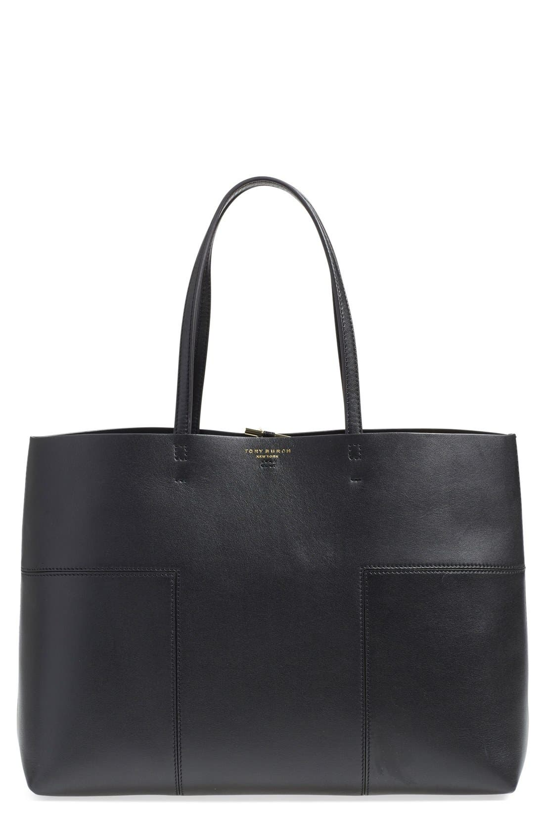 'Block-T' Leather Tote,                             Main thumbnail 1, color,                             001