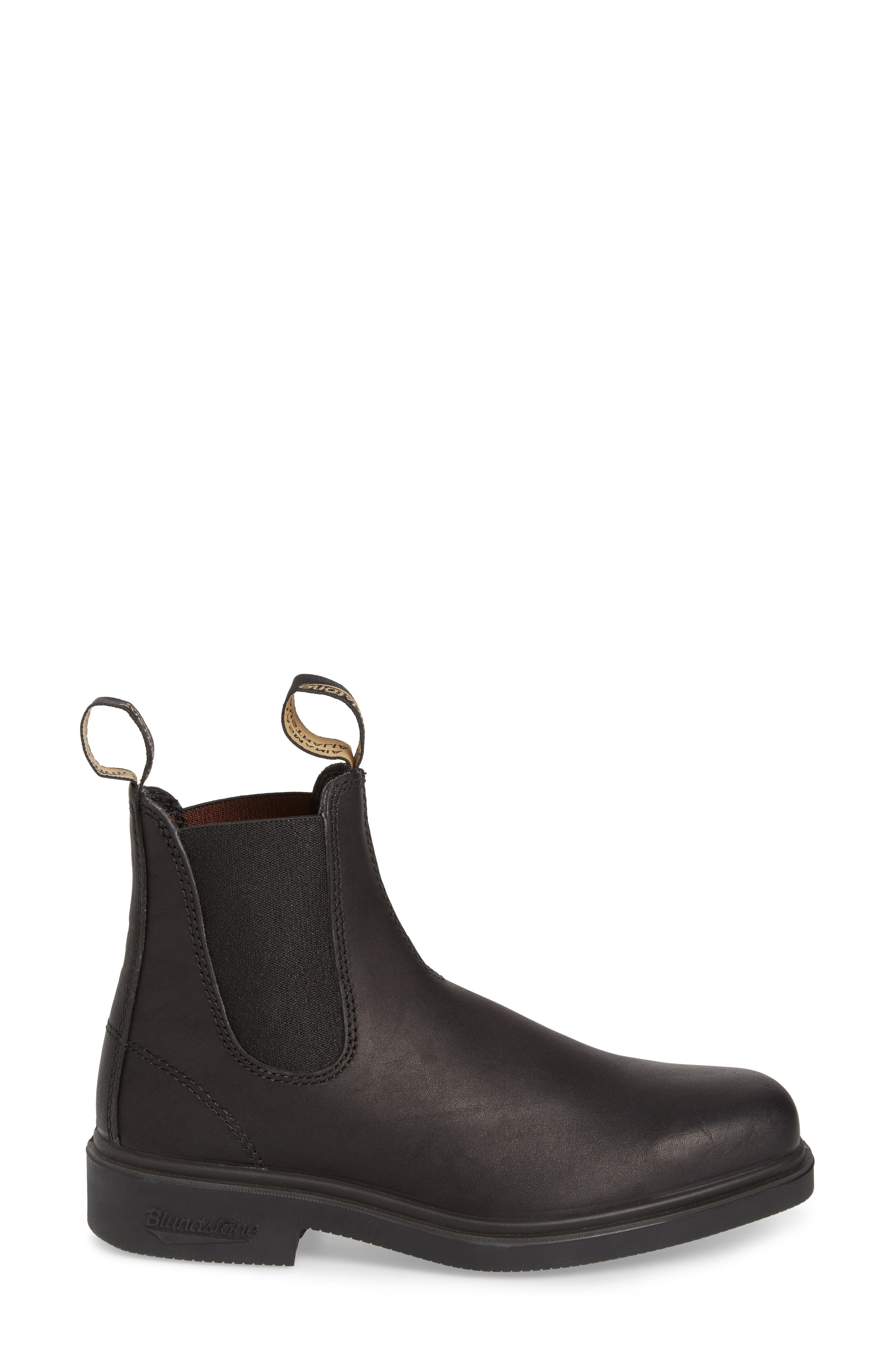 BLUNDSTONE FOOTWEAR,                             Chelsea Boot,                             Alternate thumbnail 3, color,                             BLACK LEATHER
