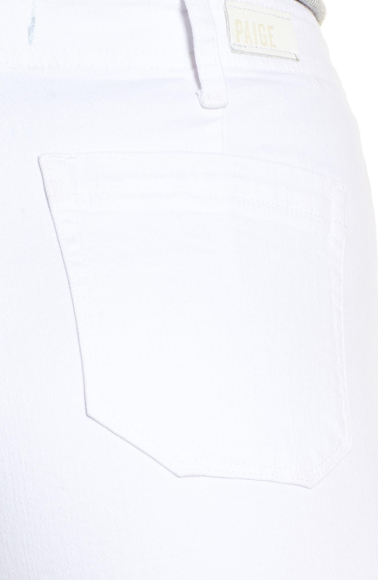 Nellie Clean Front Culotte Jeans,                             Alternate thumbnail 4, color,                             CRISP WHITE