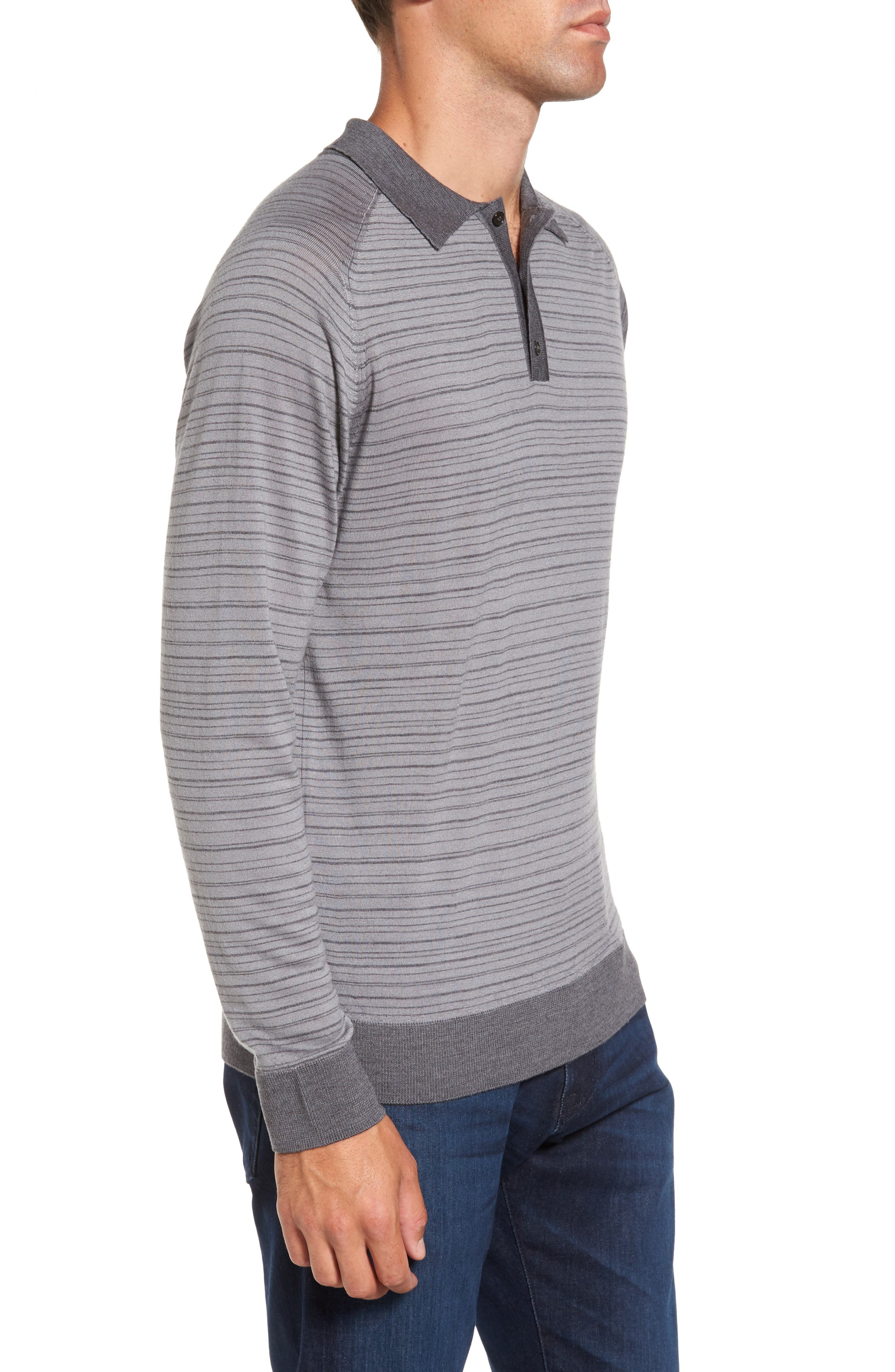 Stripe Merino Wool Polo Sweater,                             Alternate thumbnail 3, color,                             093