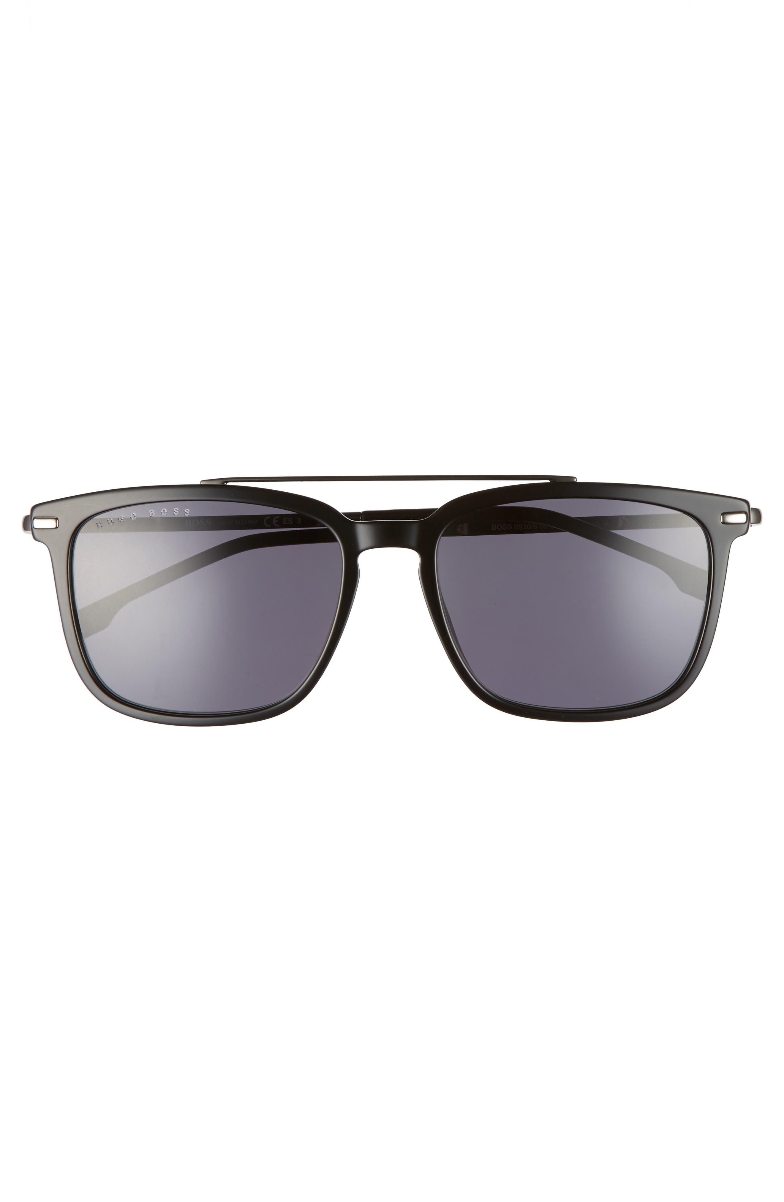 55mm Polarized Sunglasses,                             Alternate thumbnail 2, color,                             BLACK