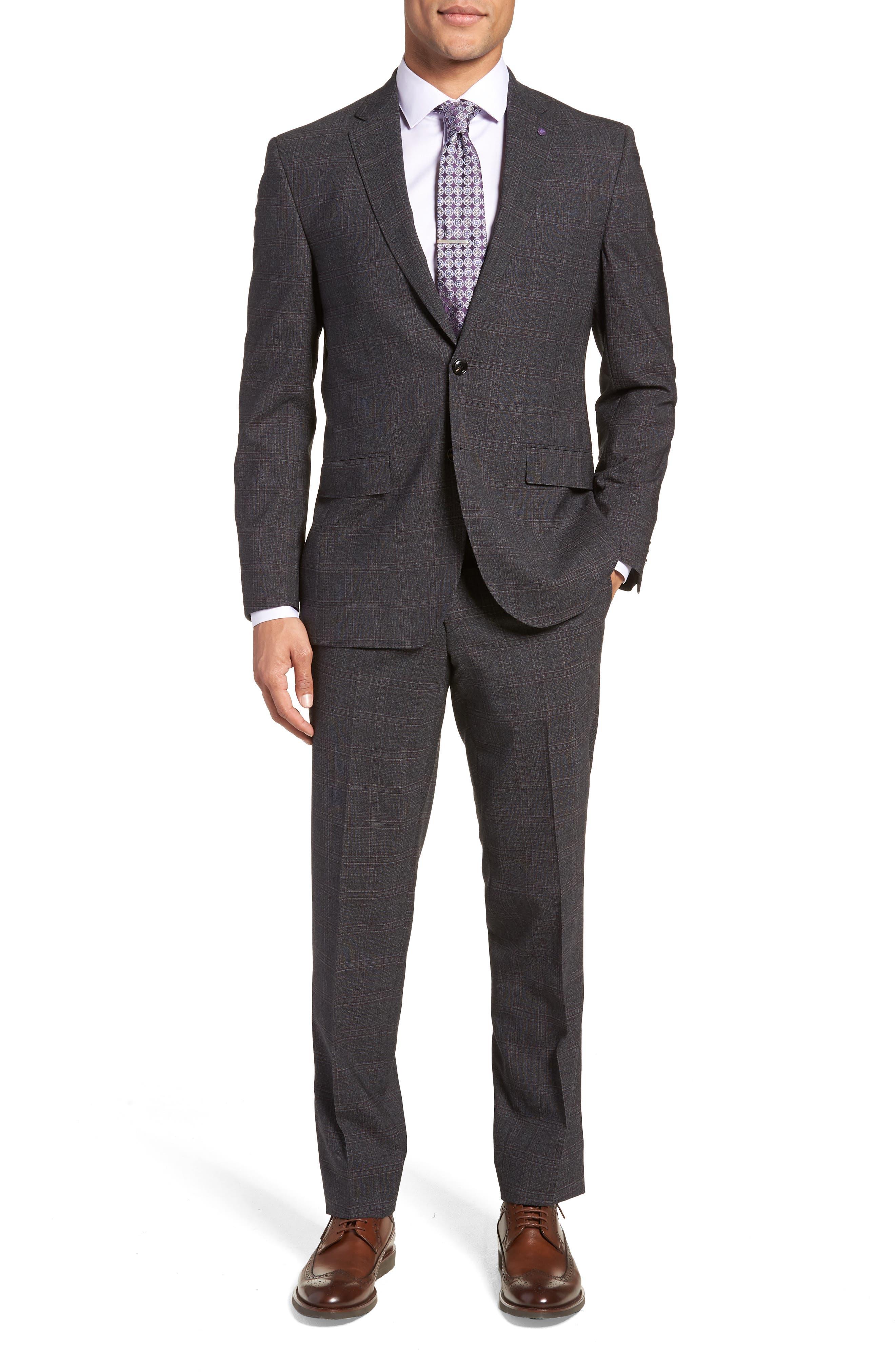 Jay Trim Fit Plaid Wool Suit,                         Main,                         color, CHARCOAL