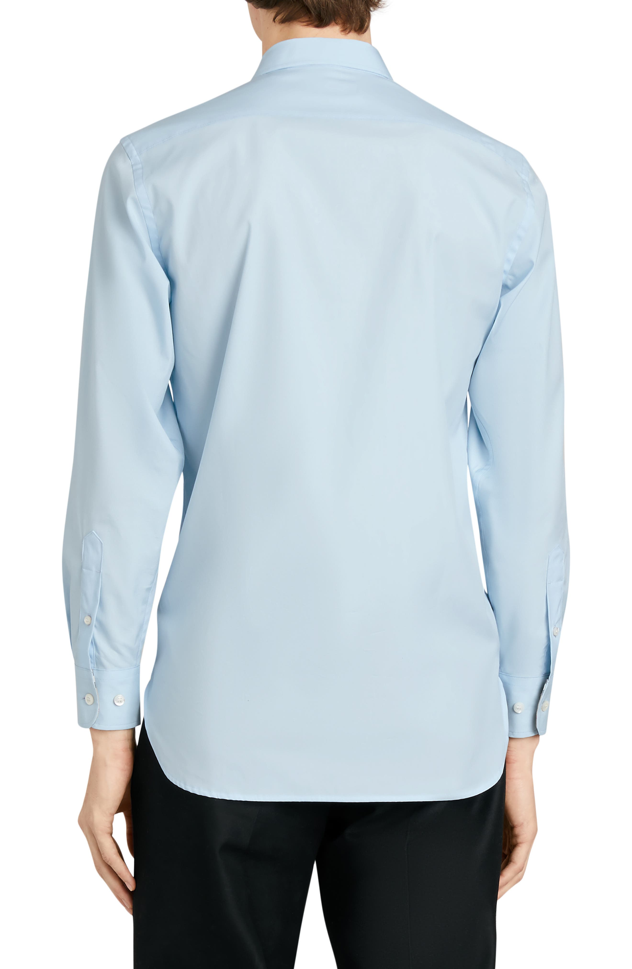 BURBERRY,                             William Stretch Poplin Sport Shirt,                             Alternate thumbnail 3, color,                             PALE BLUE