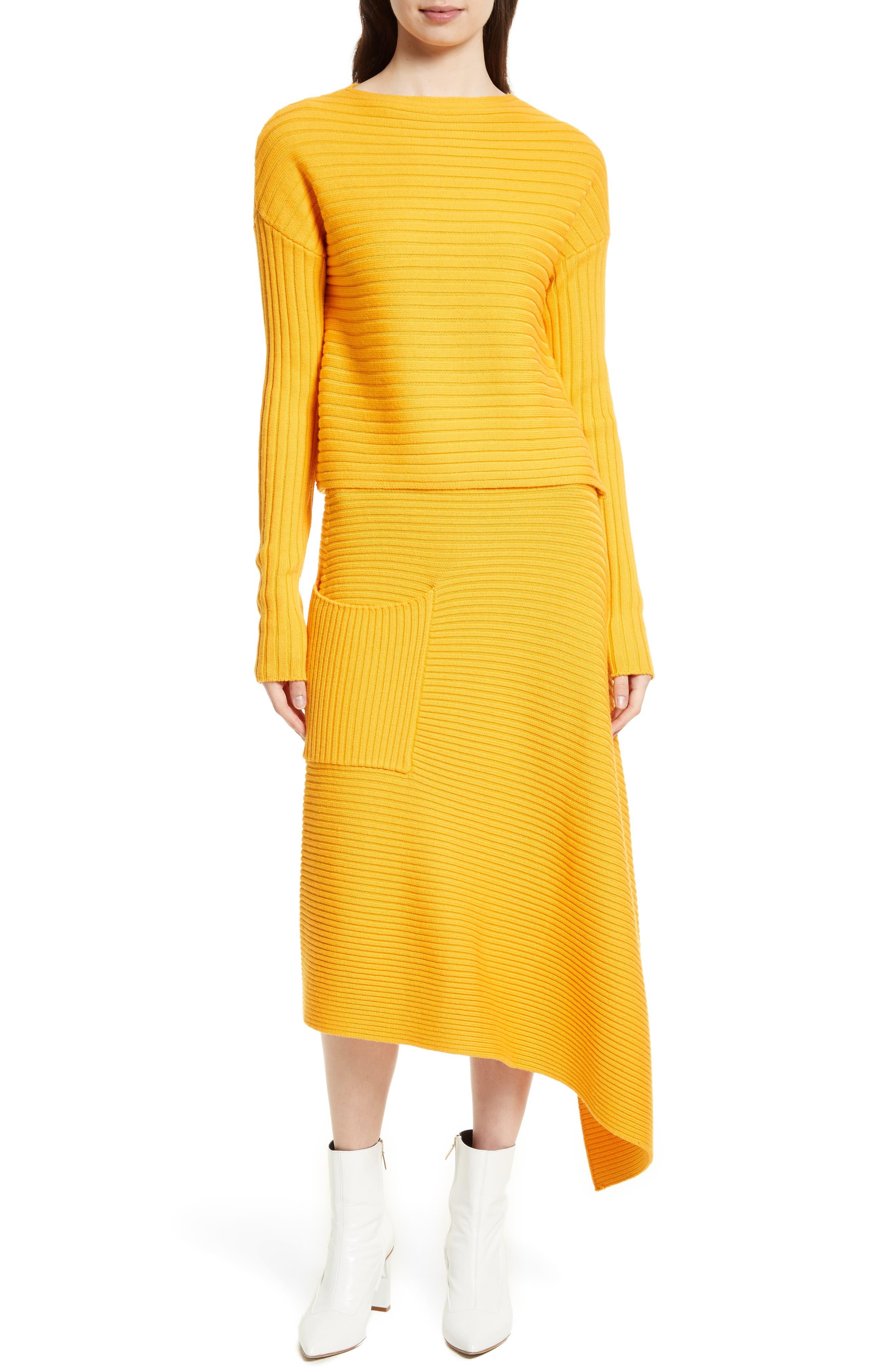 Asymmetrical Rib Merino Wool Skirt,                             Alternate thumbnail 12, color,