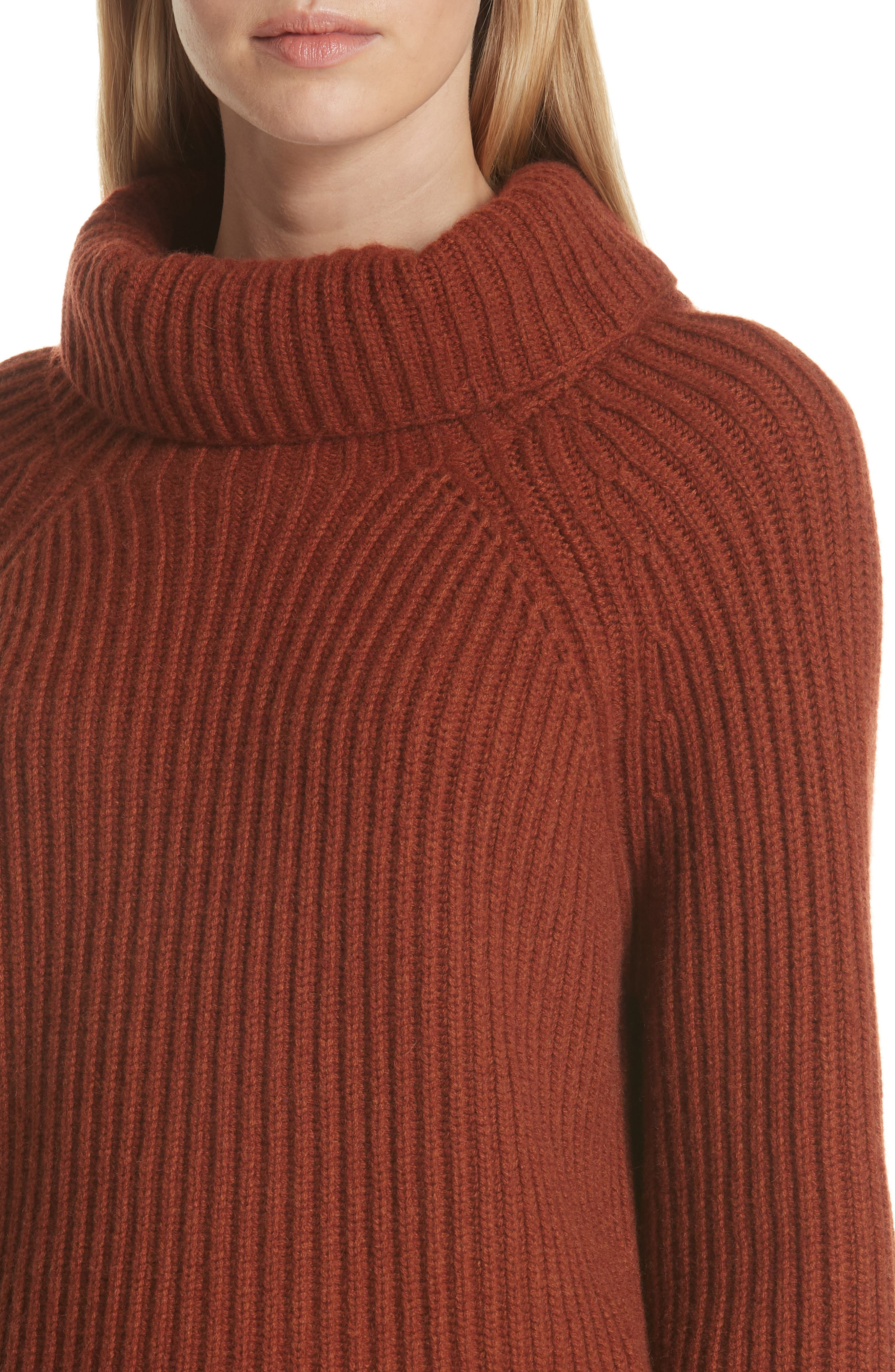 Ribbed Cashmere Turtleneck Sweater,                             Alternate thumbnail 4, color,                             221