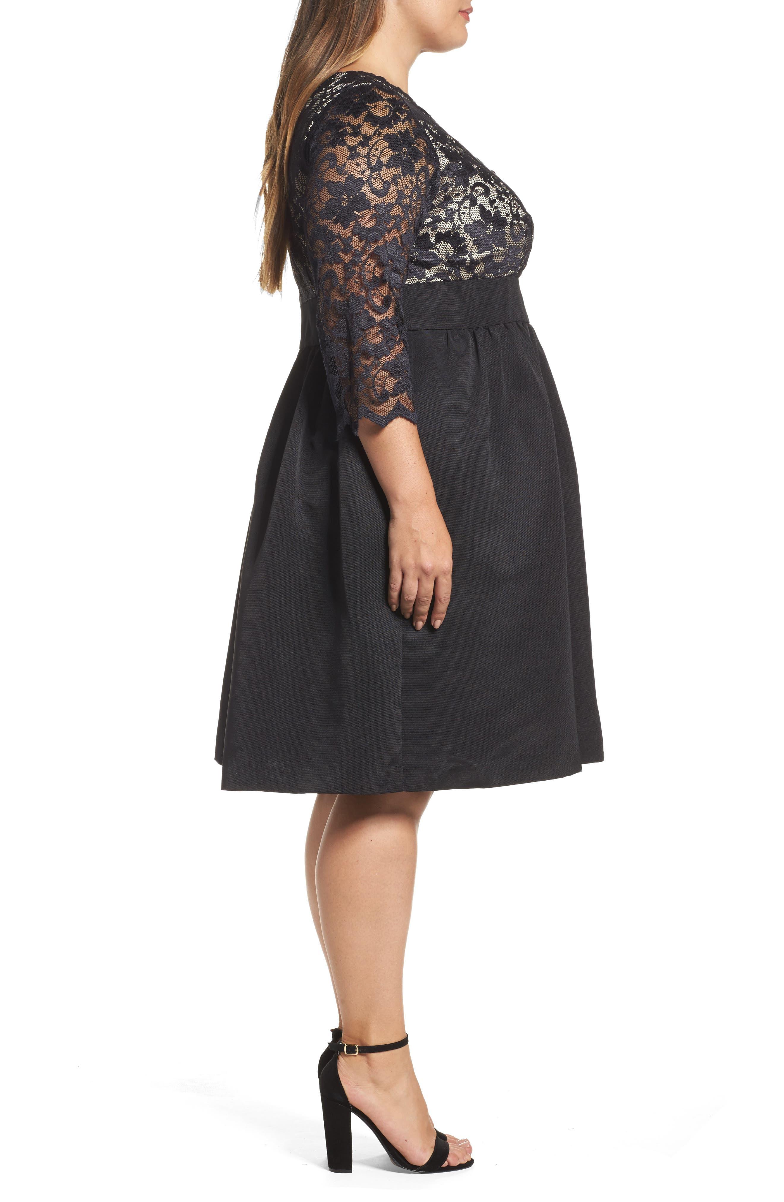 Lace & Faille Dress,                             Alternate thumbnail 7, color,