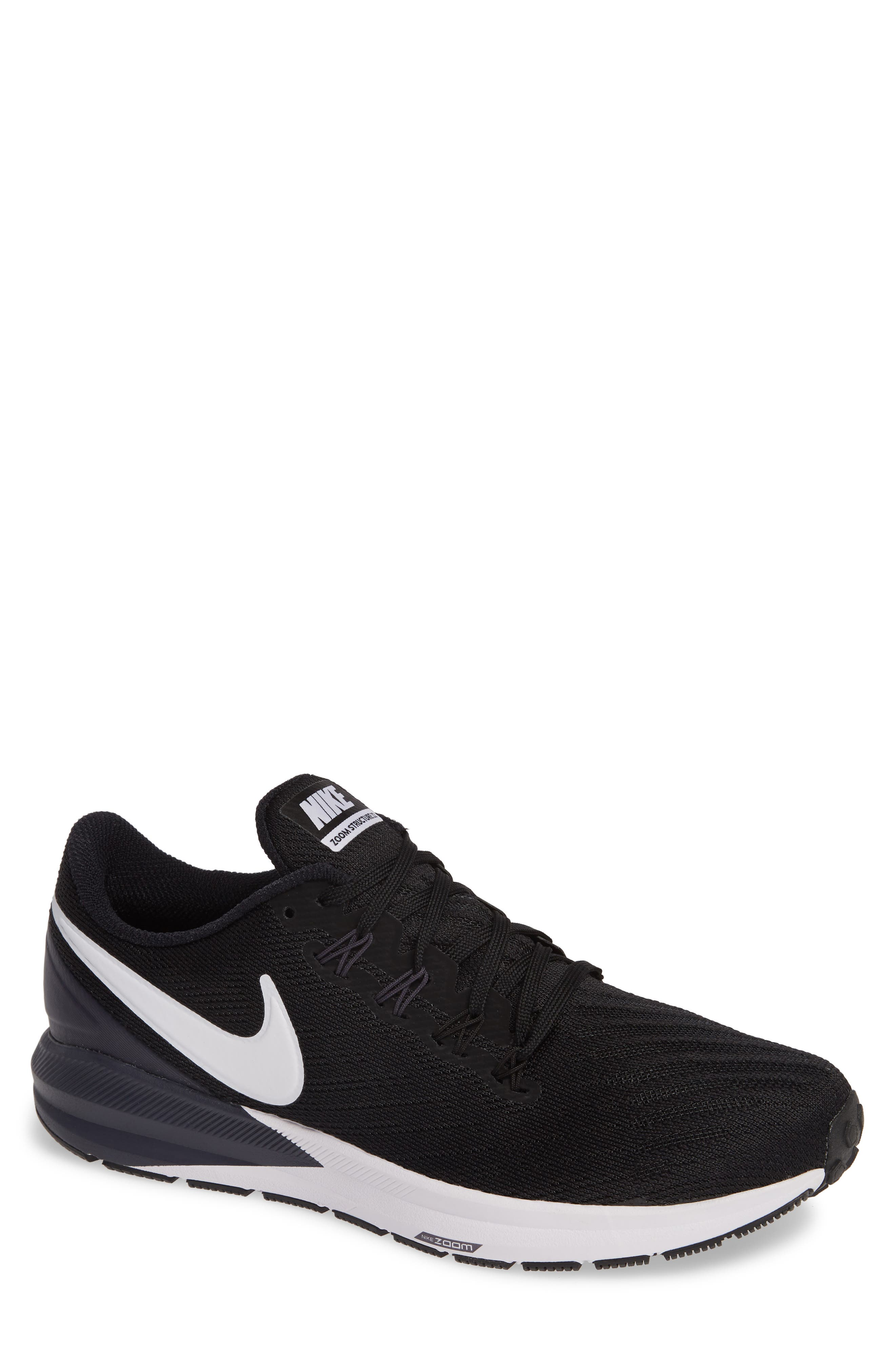 Air Zoom Structure 22 Running Shoe,                             Main thumbnail 1, color,                             BLACK/ WHITE/ GRIDIRON