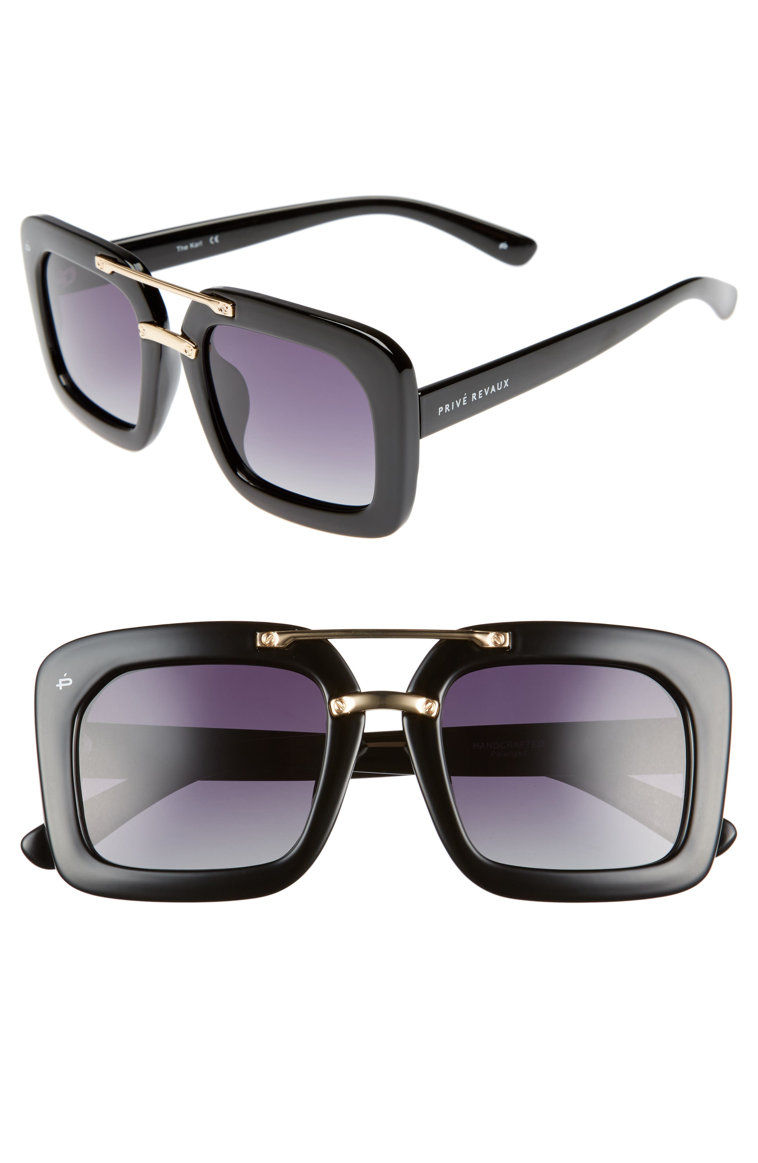 The Karl 50mm Square Aviator Sunglasses,                             Main thumbnail 1, color,                             001