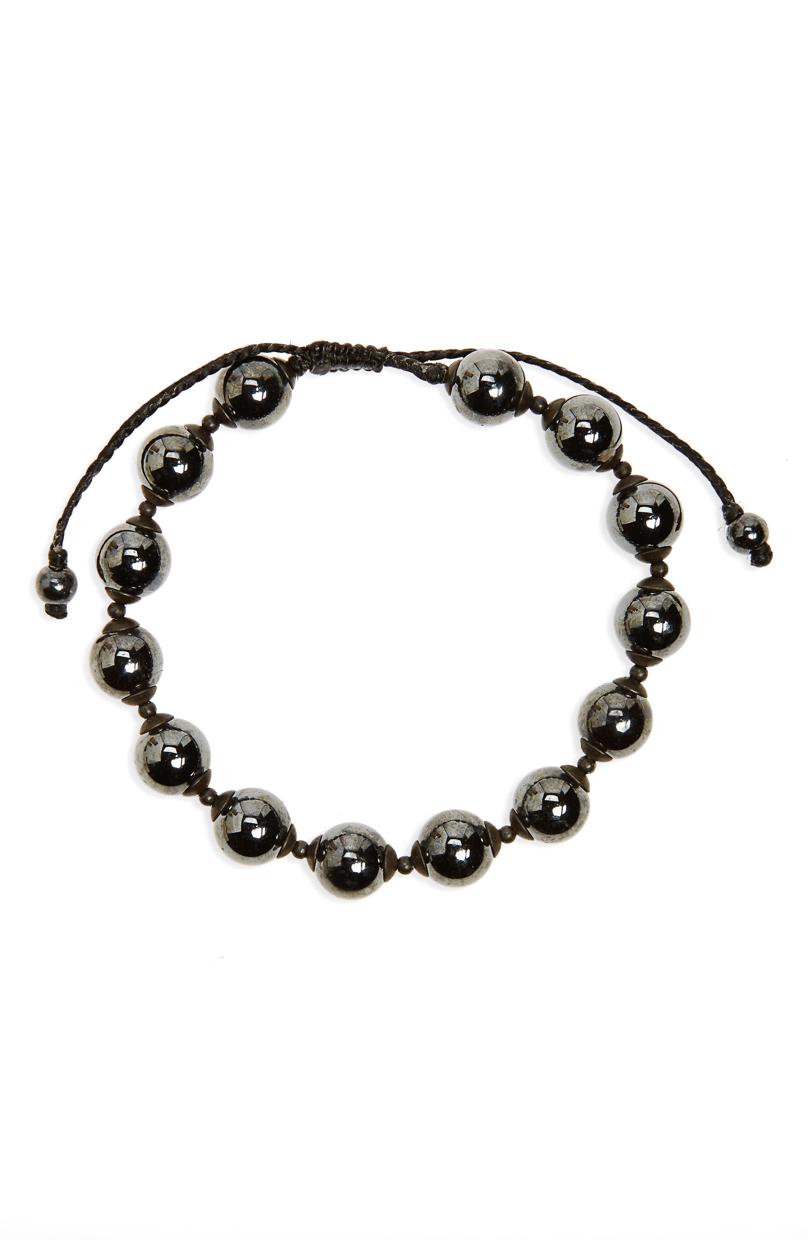 Hematite Bead Bracelet,                         Main,                         color, 001