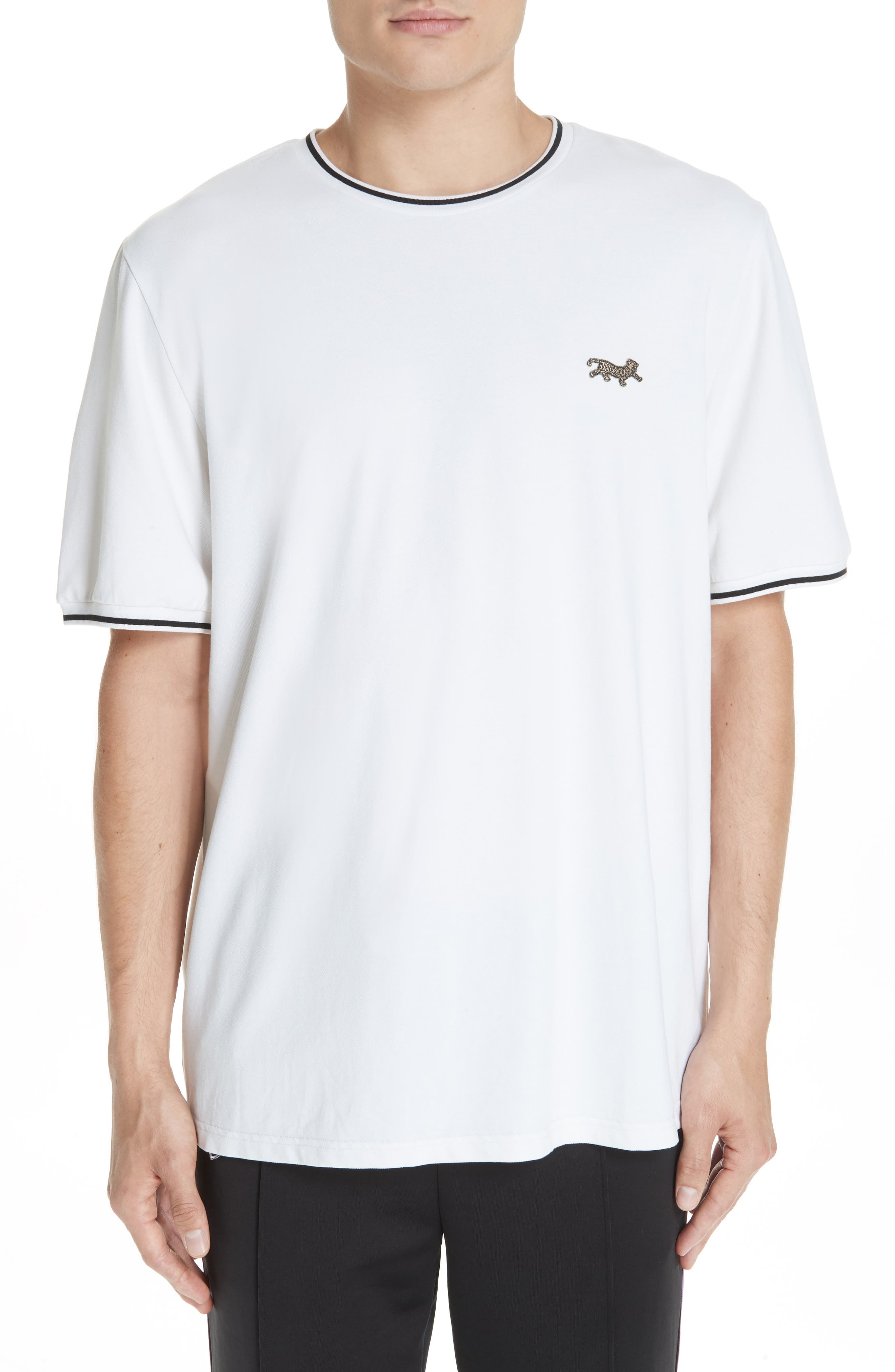 Embroidered Leopard Piqué T-Shirt,                         Main,                         color, WHITE