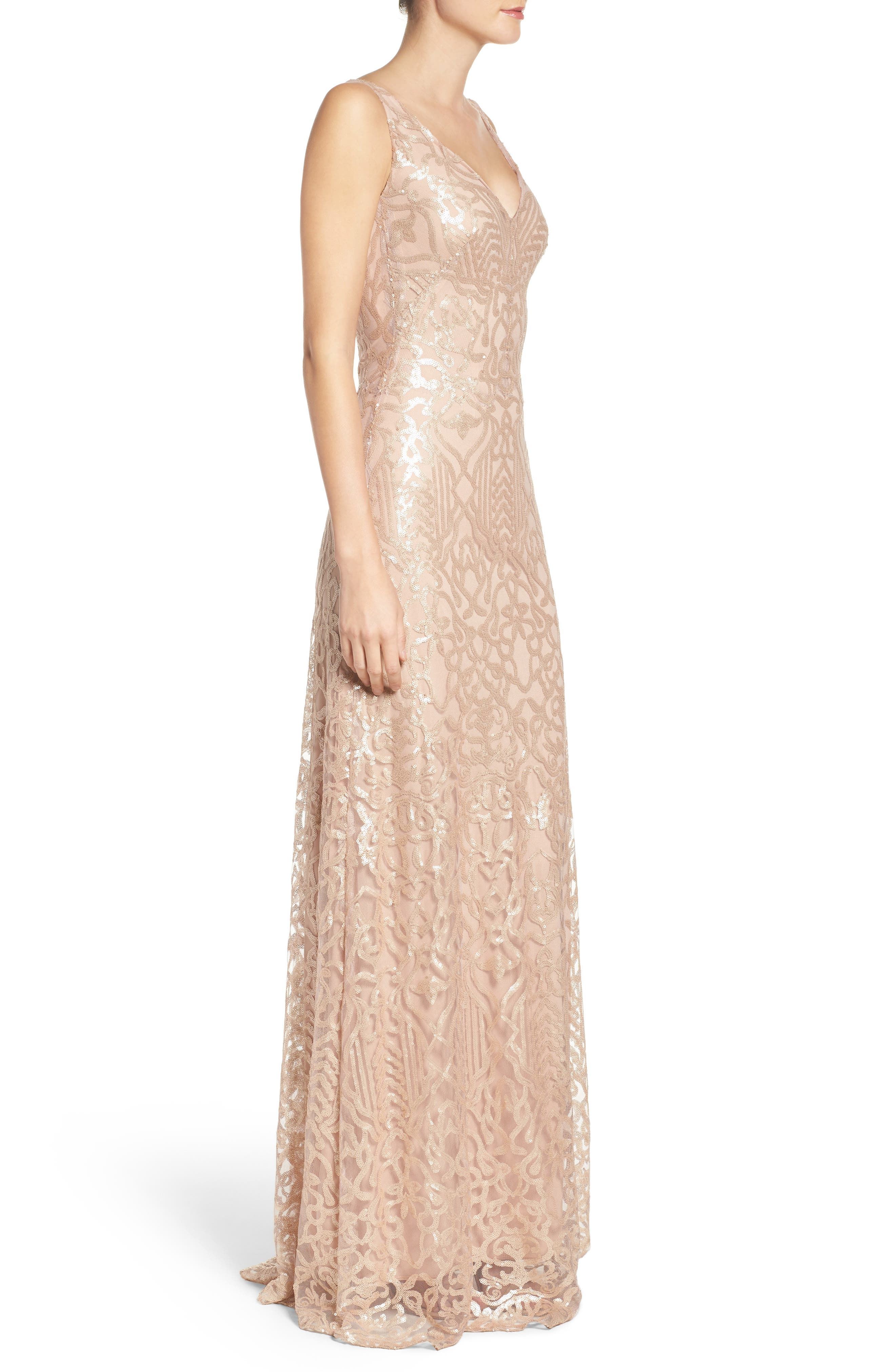Sequin Embroidered A-Line Gown,                             Alternate thumbnail 3, color,                             250