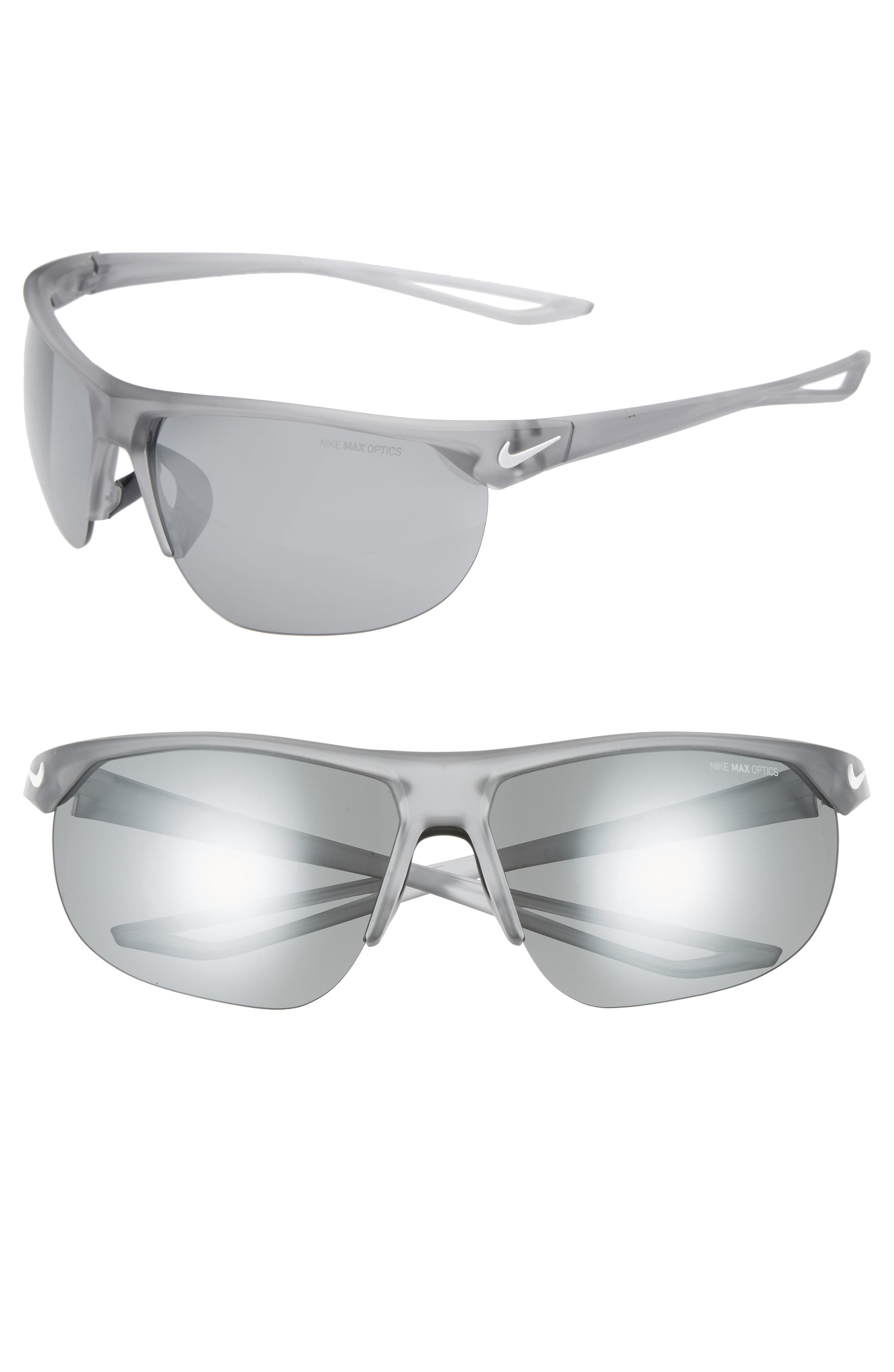 Nike Cross Trainer 67Mm Shield Sunglasses - Silver/ Matte Grey