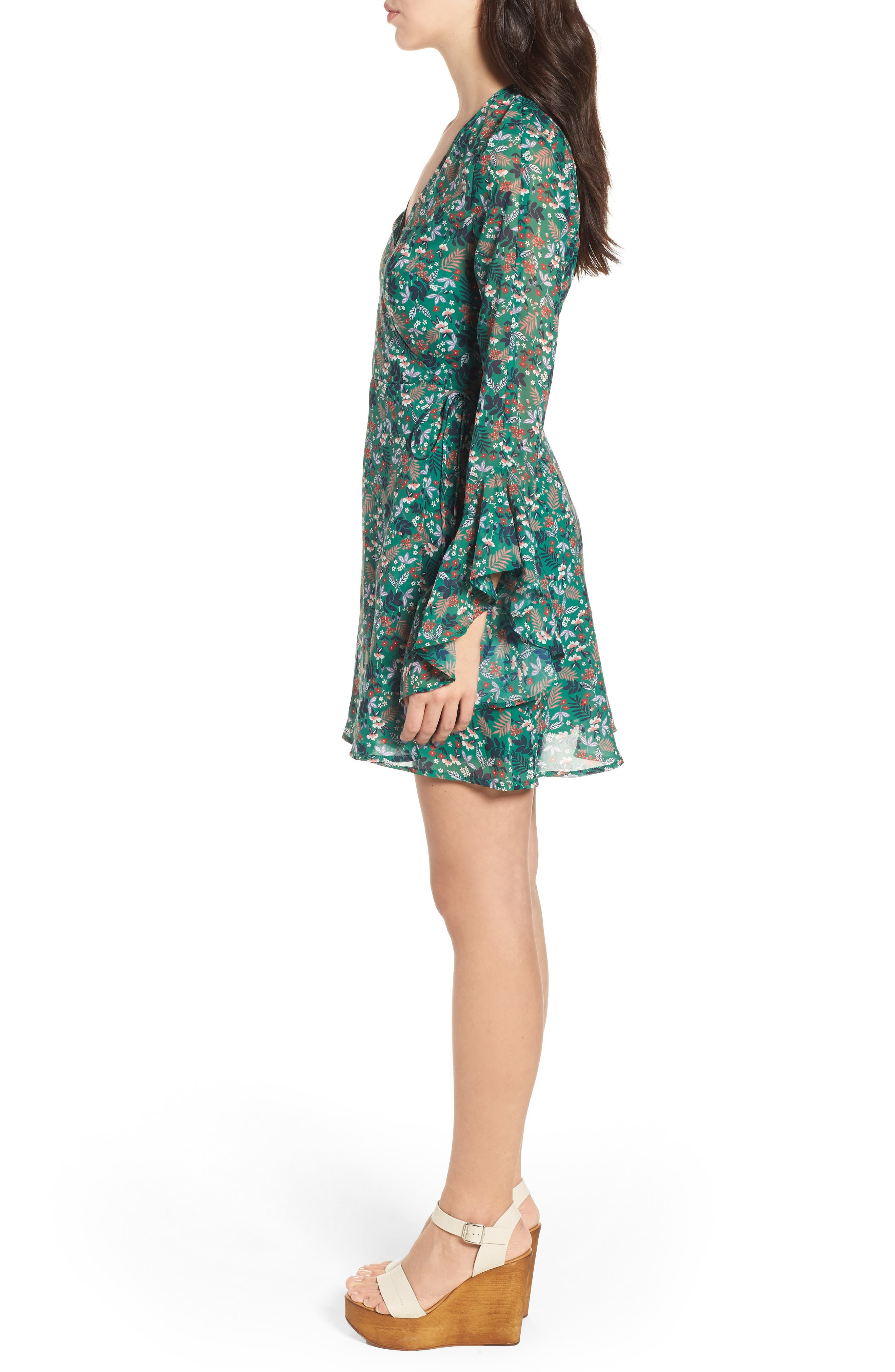 Viridian Floral Wrap Dress,                             Alternate thumbnail 3, color,                             305