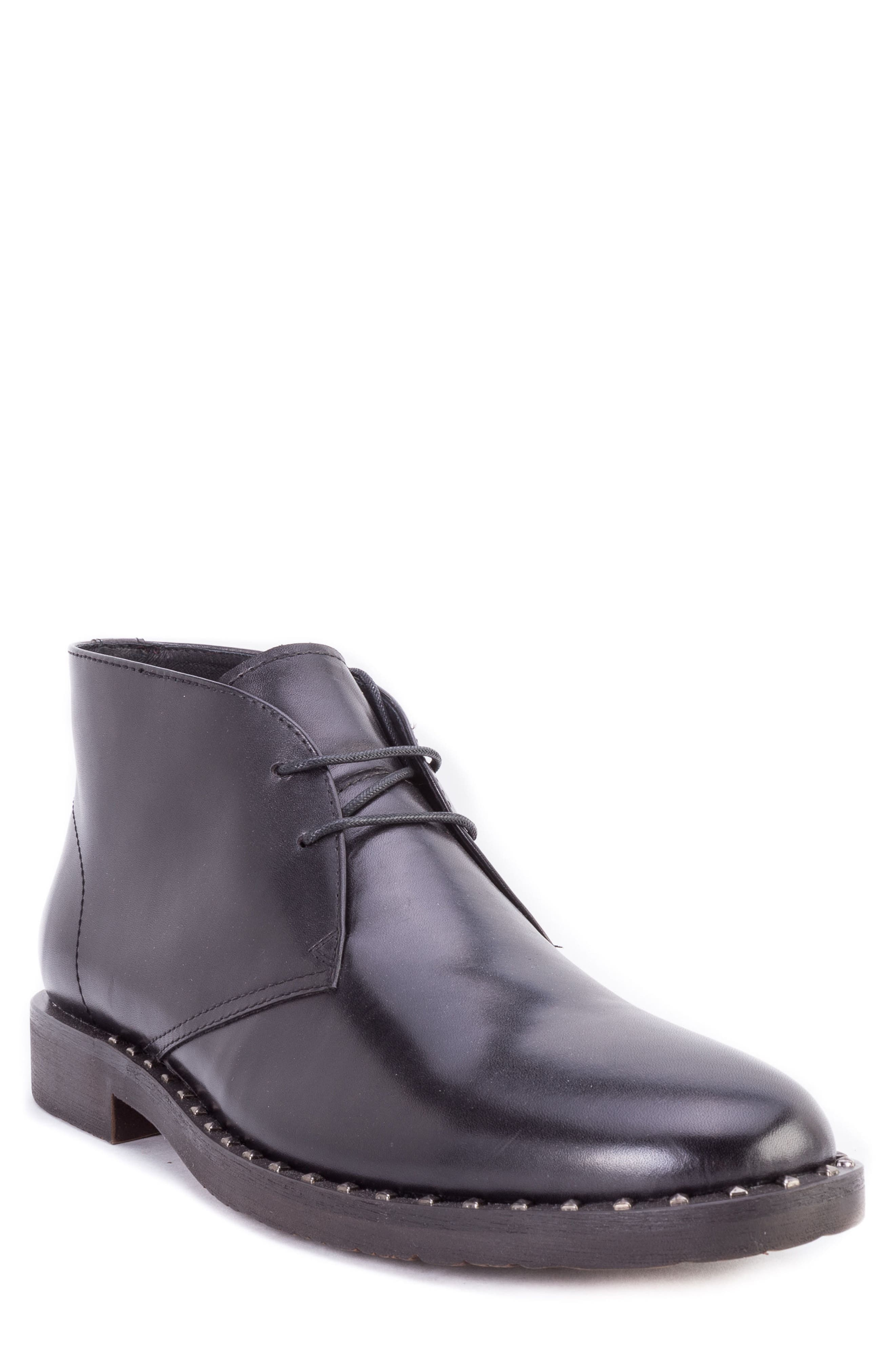 Norrie Studded Chukka Boot,                         Main,                         color, BLACK LEATHER